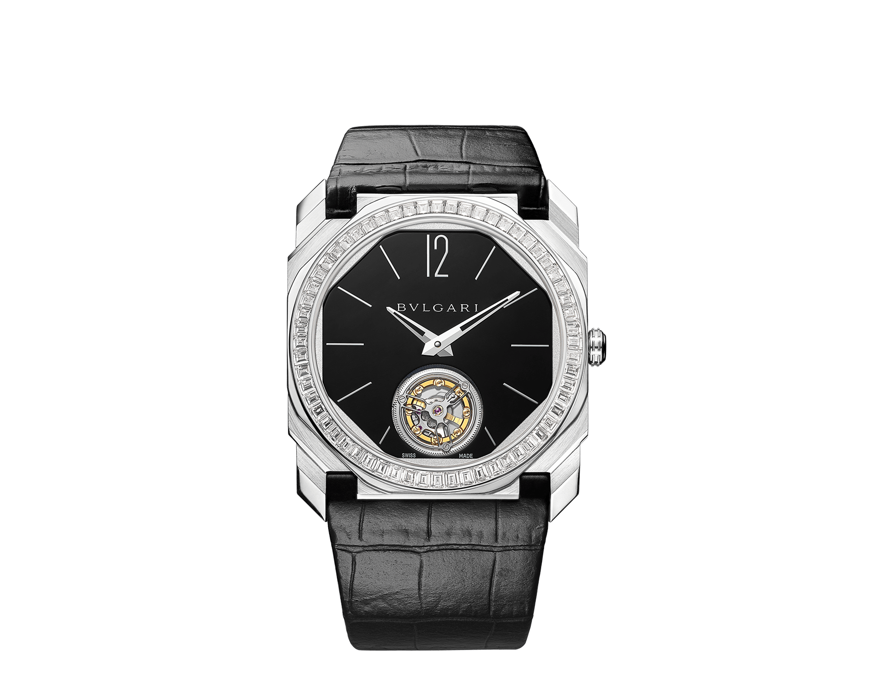 Octo Finissimo Tourbillon Limited Edition watch with extra thin mechanical manufacture movement and manual winding, platinum case, bezel set with baguette-cut diamonds, black lacquered dial with tourbillon see-through opening and black alligator bracelet. 102401 image 1