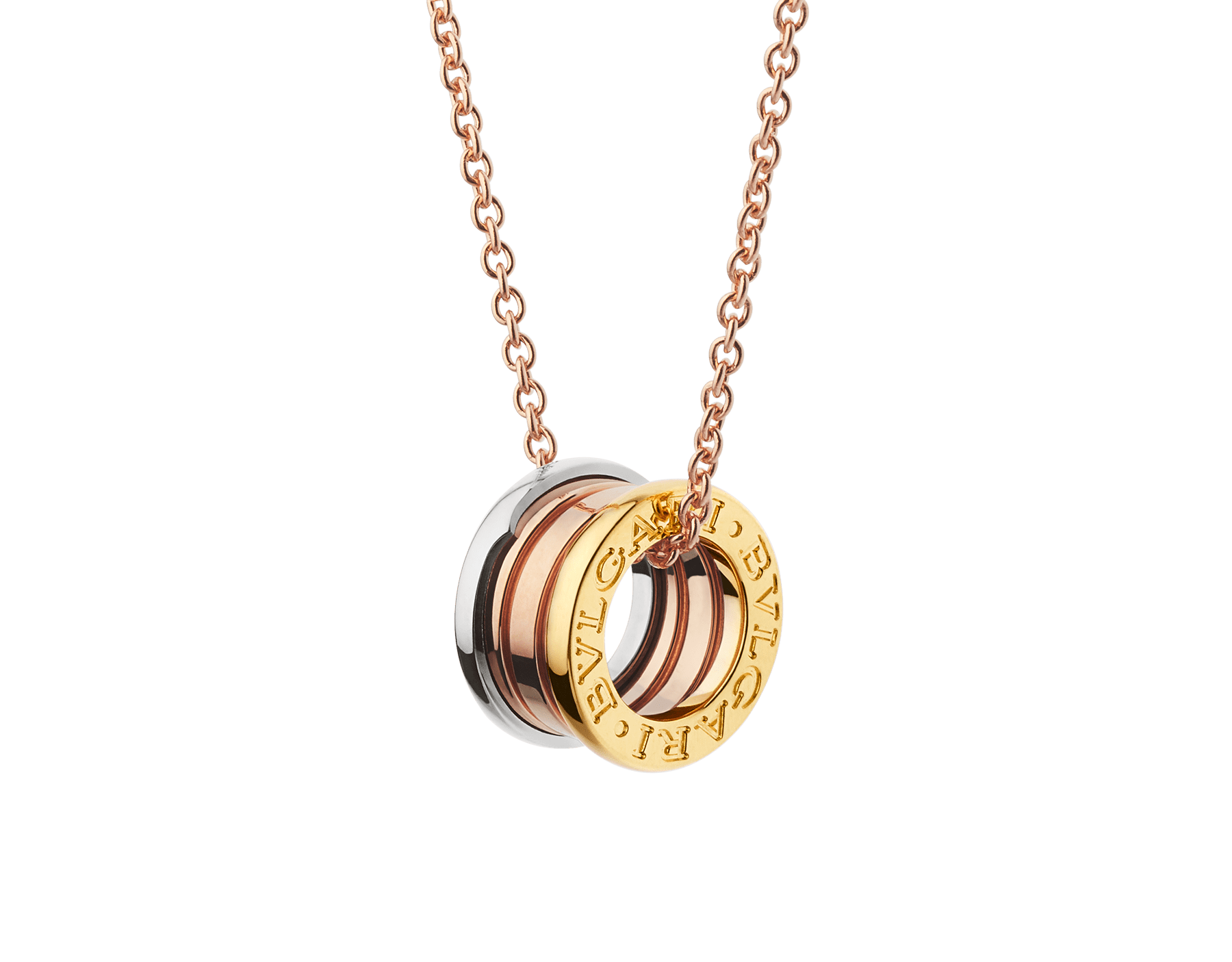 B.zero1 necklace in 18 kt rose gold with pendant in 18 kt rose, white and yellow gold. 352397 image 1