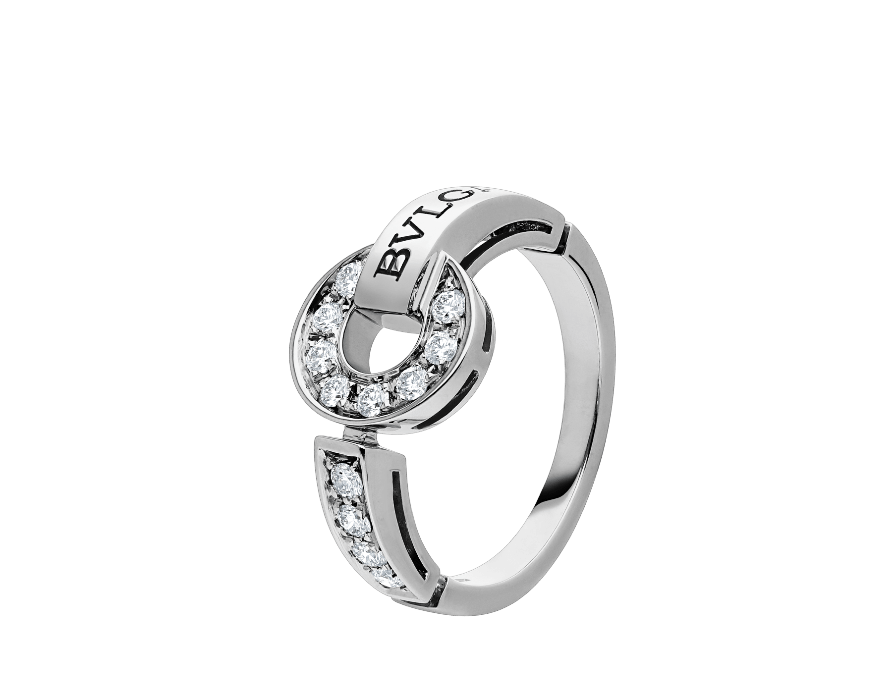 BVLGARI BVLGARI 18 kt white gold ring set with pavé diamonds AN854619 image 1