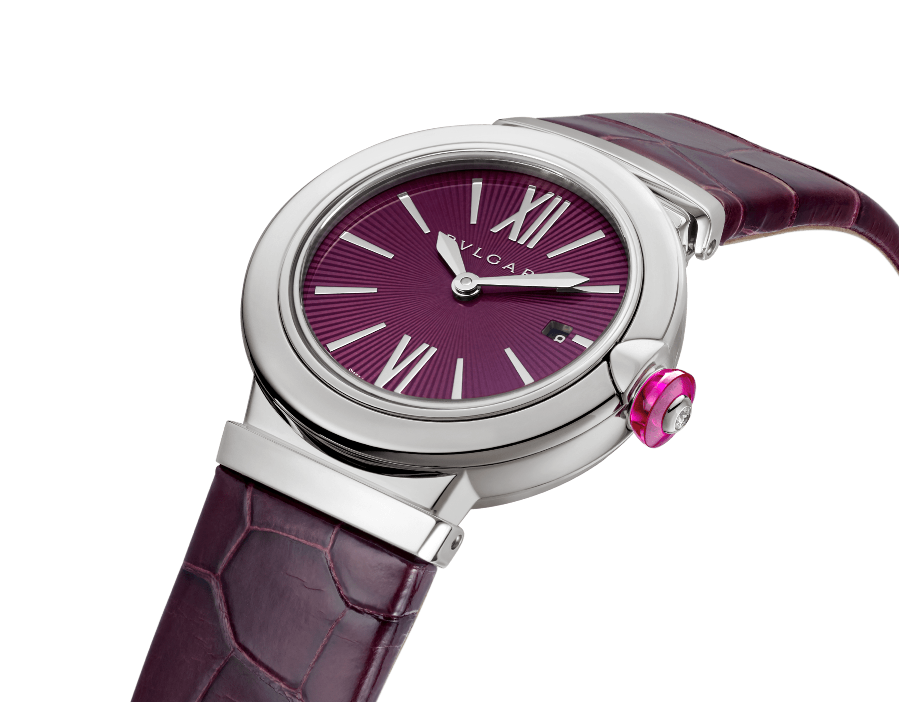 LVCEA watch with stainless steel case, violet dial and purple alligator bracelet. 102566 image 2
