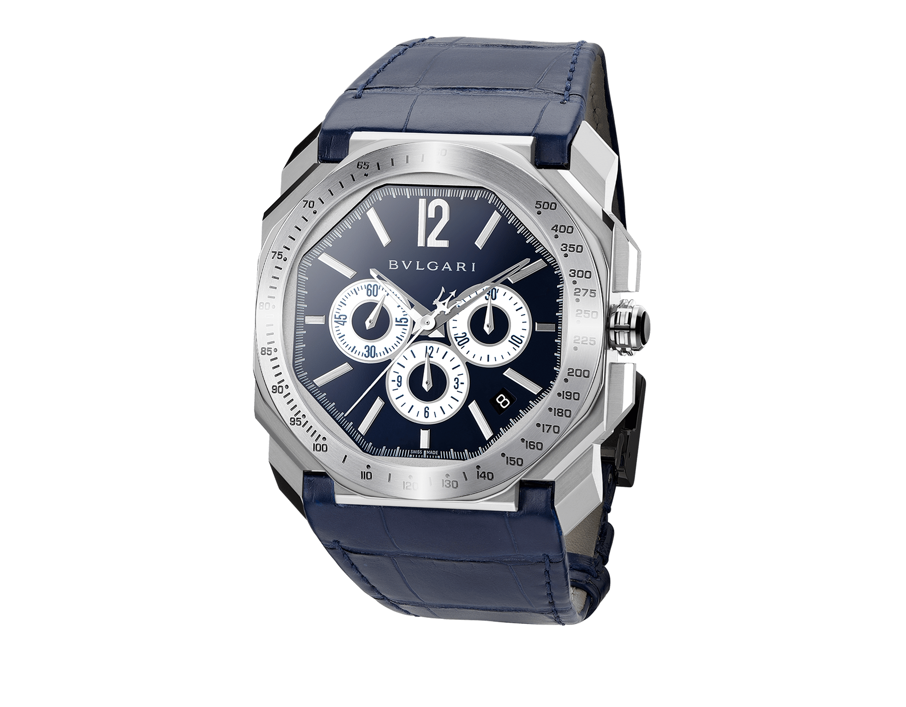 Octo Maserati Chronograph Limited Edition watch with mechanical manufacture movement, high-frequency chronograph, column wheel mechanism, automatic winding and date, stainless steel case, tachometric bezel, blue lacquered dial and blue alligator bracelet. 102229 image 1