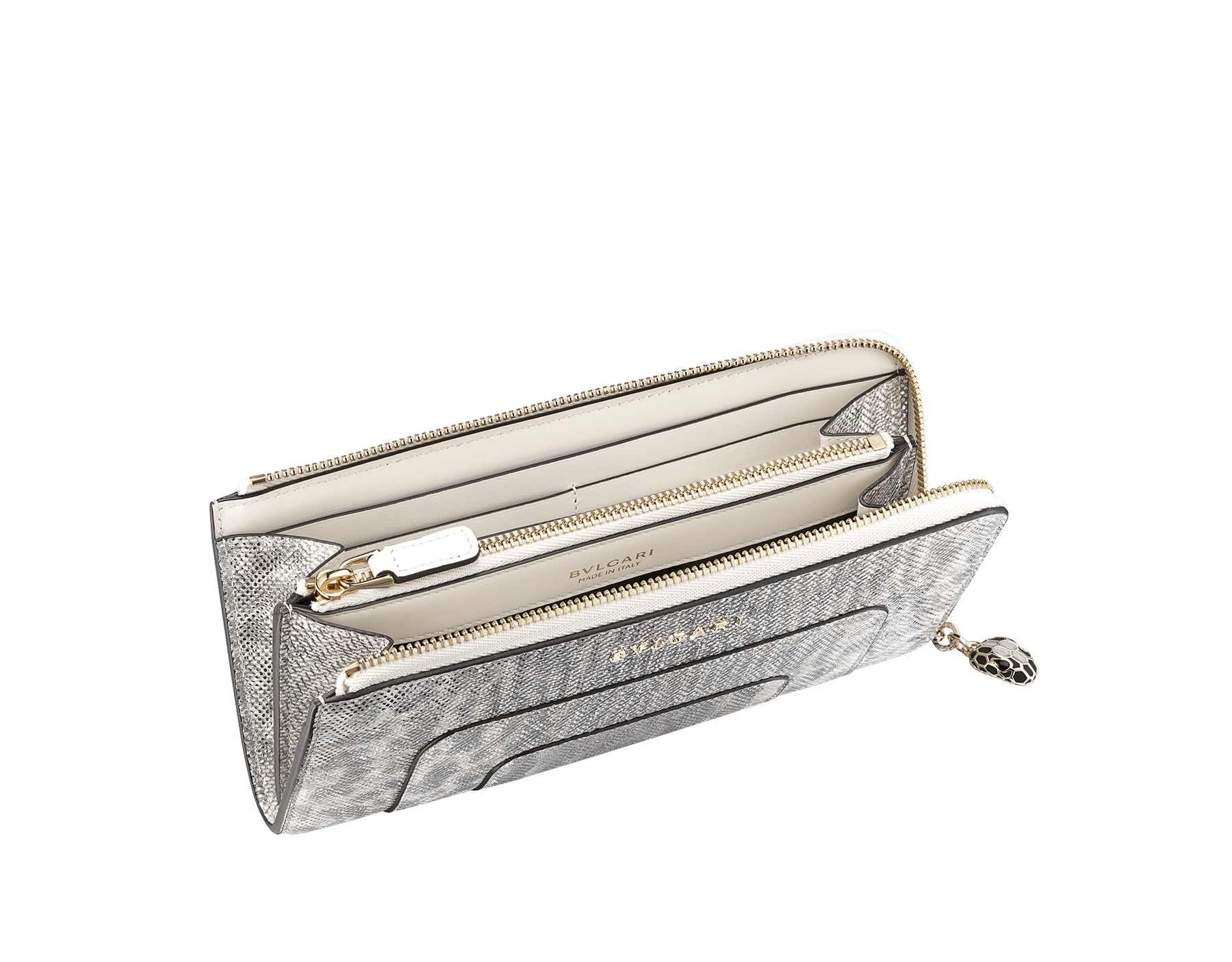 Serpenti Forever L-shaped zipped wallet in ruby red metallic karung skin and calf leather. Iconic snakehead zip puller in black and glitter silver enamel, with black enamel eyes SEA-WLT-MZP-SLIM-L-MK image 2
