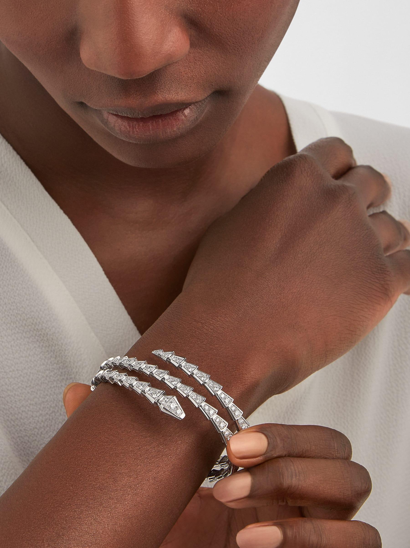 Serpenti Viper two-coil 18 kt white gold bracelet set with pavé diamonds BR858795 image 1