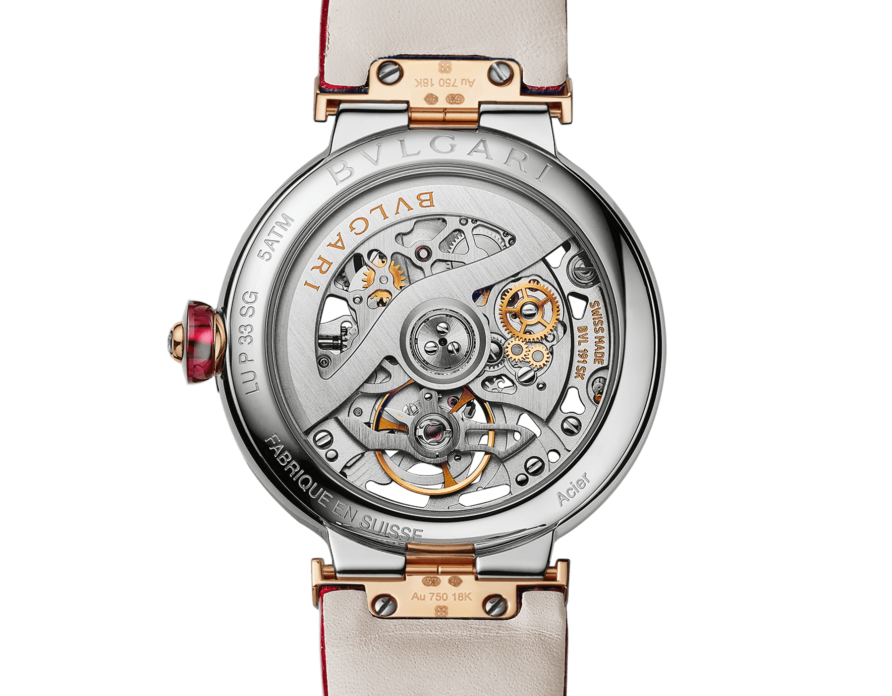 LVCEA Skeleton watch with mechanical manufacture movement, automatic winding and skeleton execution, polished stainless steel case, 18 kt rose gold bezel, openwork BVLGARI logo dial and links, and red alligator bracelet. Water-resistant up to 30 metres. 103373 image 3
