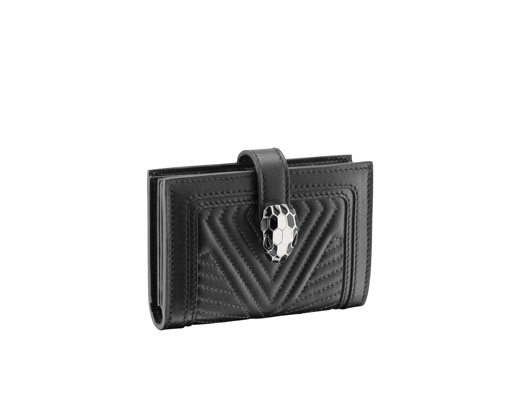 Serpenti Diamond Blast compact credit card holder in black matelassé nappa leather and black calf leather. Snakehead closure with black and white enamel and black enamel eyes. 288193 image 1