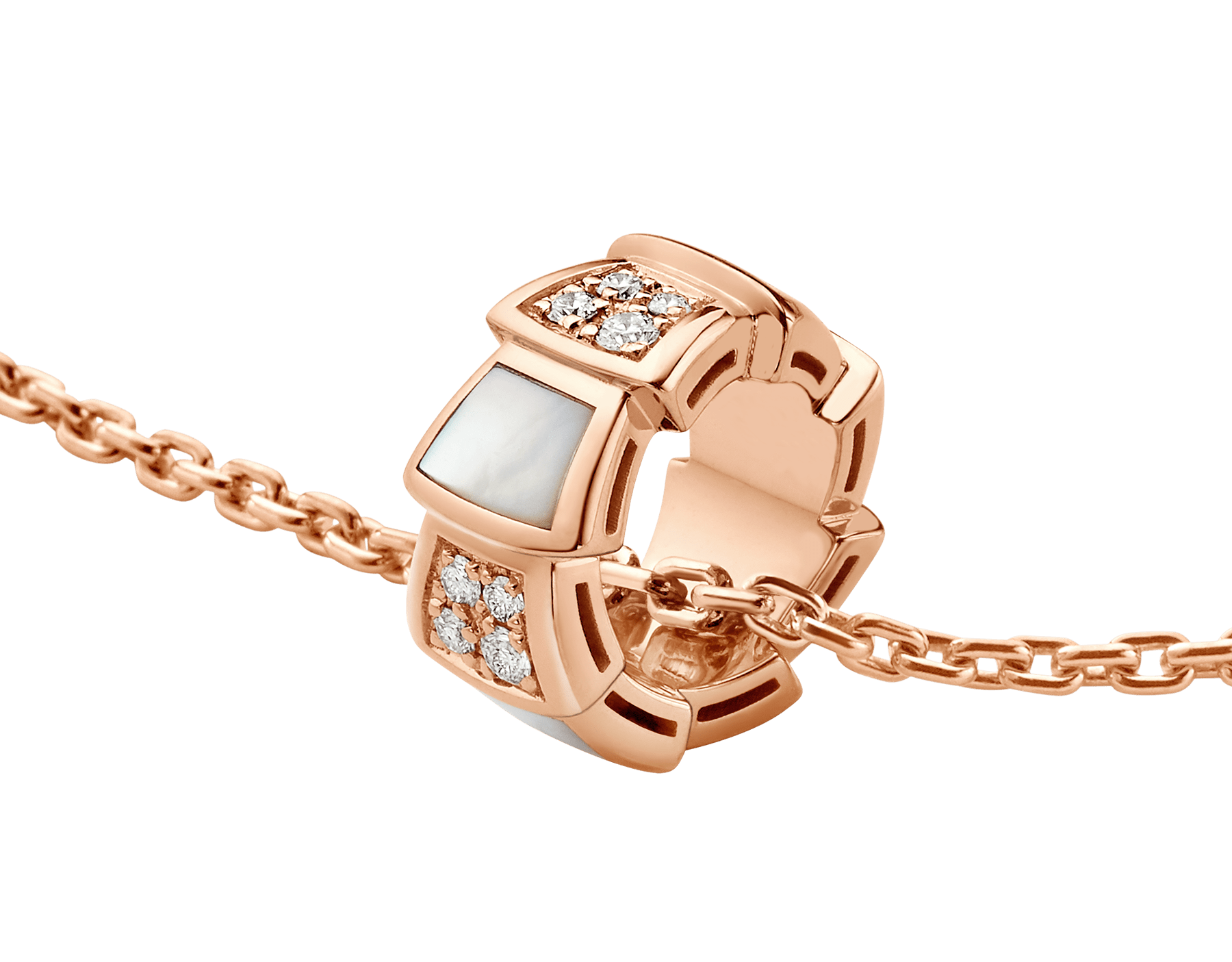 Serpenti Viper 18 kt rose gold necklace set with mother-of-pearl elements and pavé diamonds on the pendant. 357095 image 3