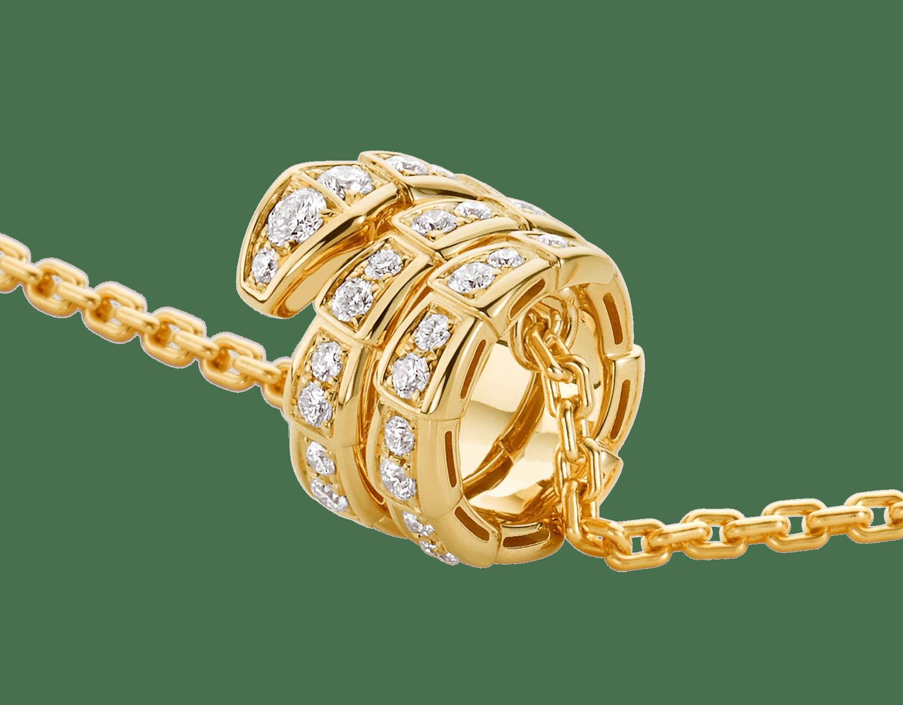 Serpenti Viper 18 kt yellow gold pendant necklace set with pavé diamonds 357936 image 3