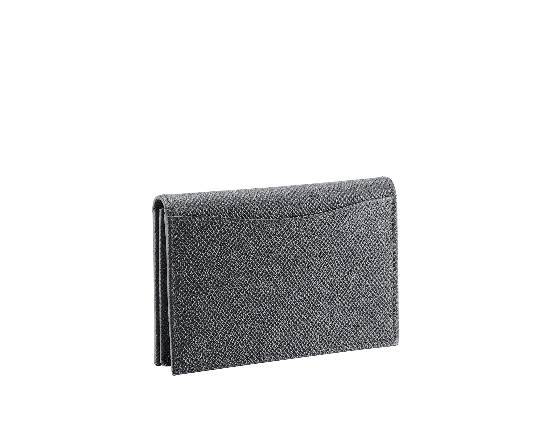 BVLGARI BVLGARI business card holder in charcoal diamond and emerald green grain calf leather, with brass palladium plated logo décor. 289115 image 3