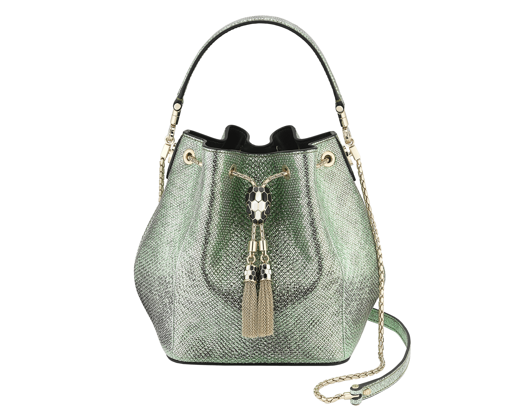 """Serpenti Forever"" bucket in mint metallic karung skin and black nappa internal lining. Hardware in light gold plated brass and snakehead closure in black and white agate enamel, with eyes in black onyx. 934-MK image 1"