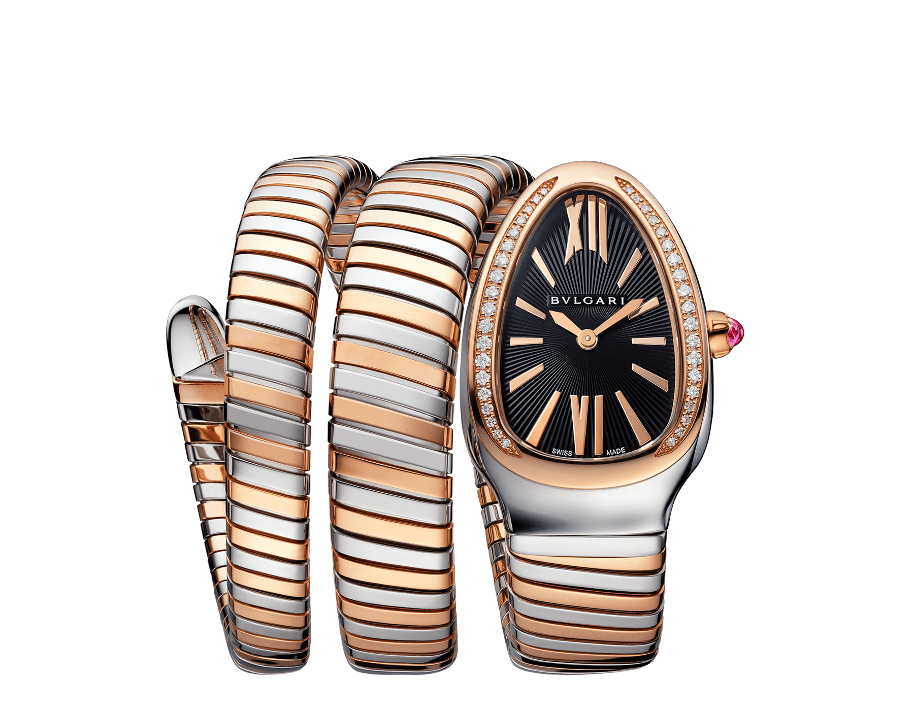 Serpenti Tubogas double spiral watch with stainless steel case, 18 kt rose gold bezel set with brilliant cut diamonds, black opaline dial, 18 kt rose gold and stainless steel bracelet. 102099 image 1