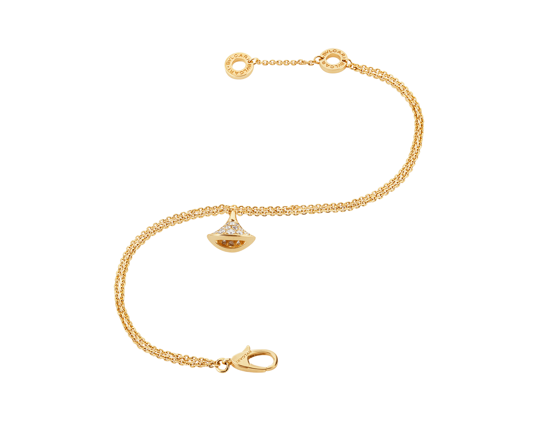 DIVAS' DREAM 18 kt yellow gold bracelet with pendant in full pavé diamonds BR858990 image 2
