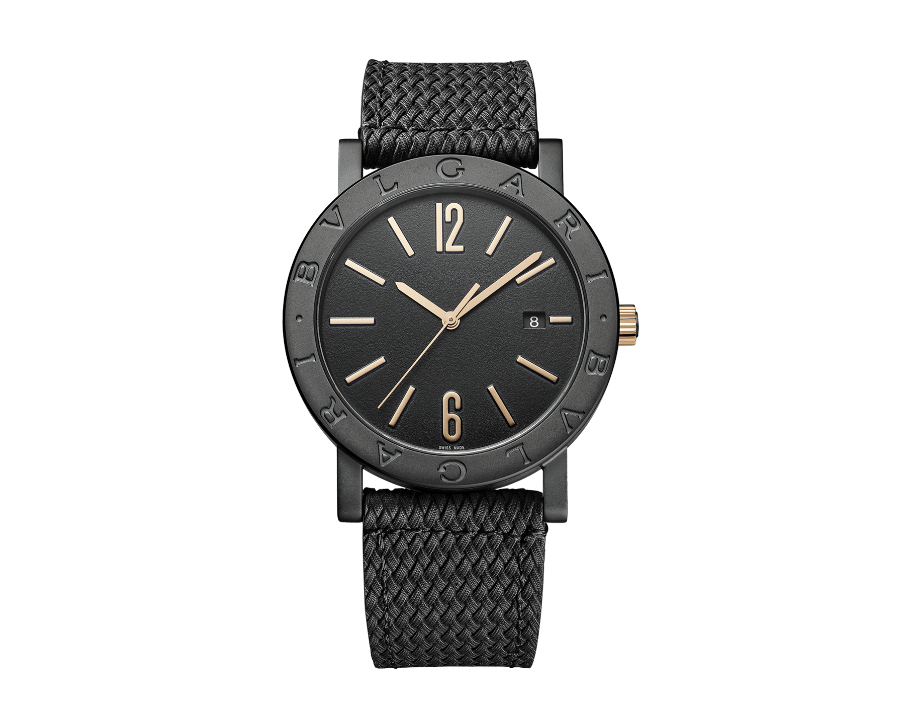 BVLGARI BVLGARI Solotempo watch with mechanical manufacture movement, automatic winding and date, stainless steel case treated with black Diamond Like Carbon and bezel engraved with double logo, black dial, black rubber bracelet and interchangeable brown calf leather bracelet 102929 image 1