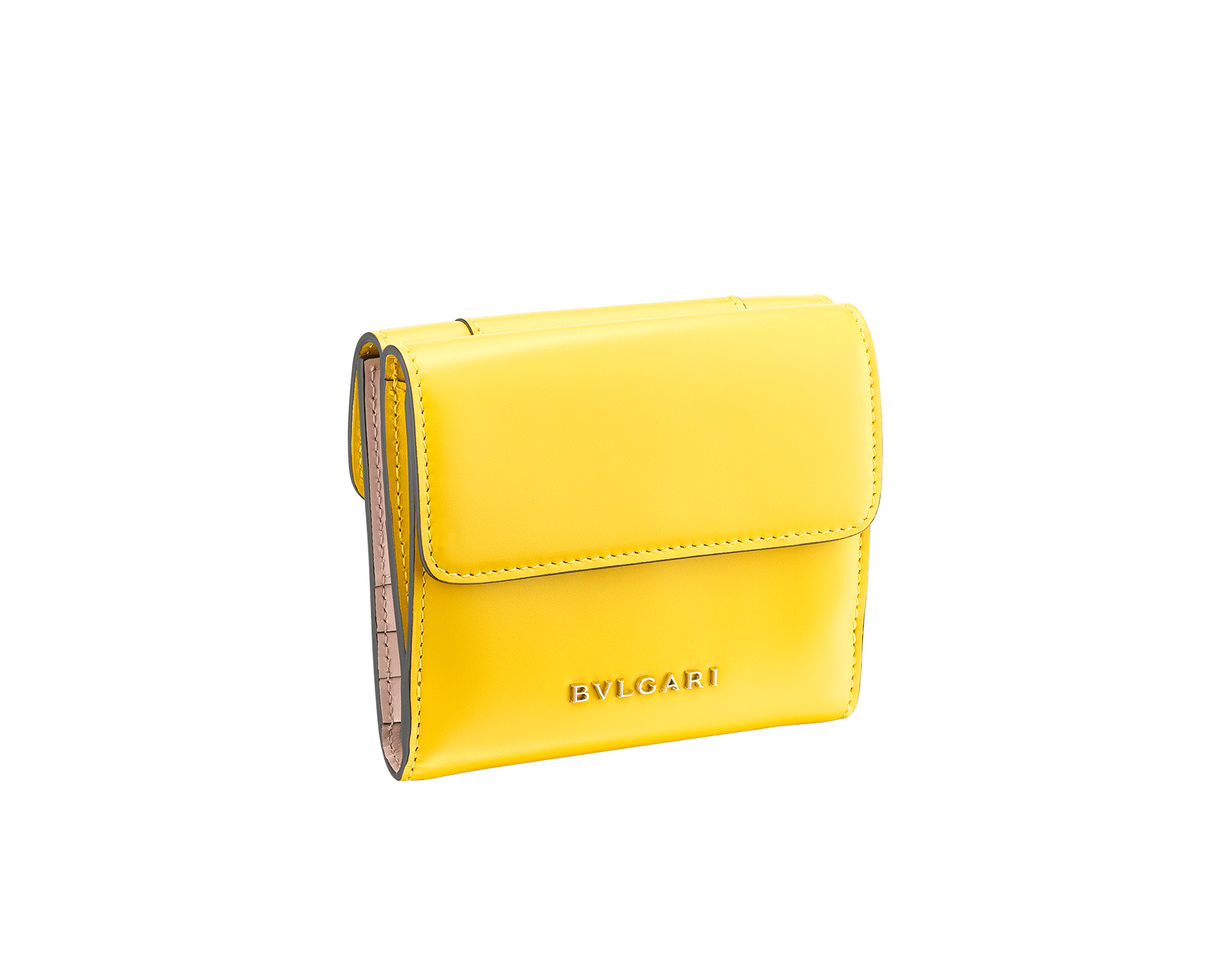 Serpenti Forever square compact wallet in daisy topaz and crystal rose calf leather. Iconic snake head stud closure in black and white agate enamel, with green malachite eyes. SEA-WLT-COMPACT-3Fa image 3