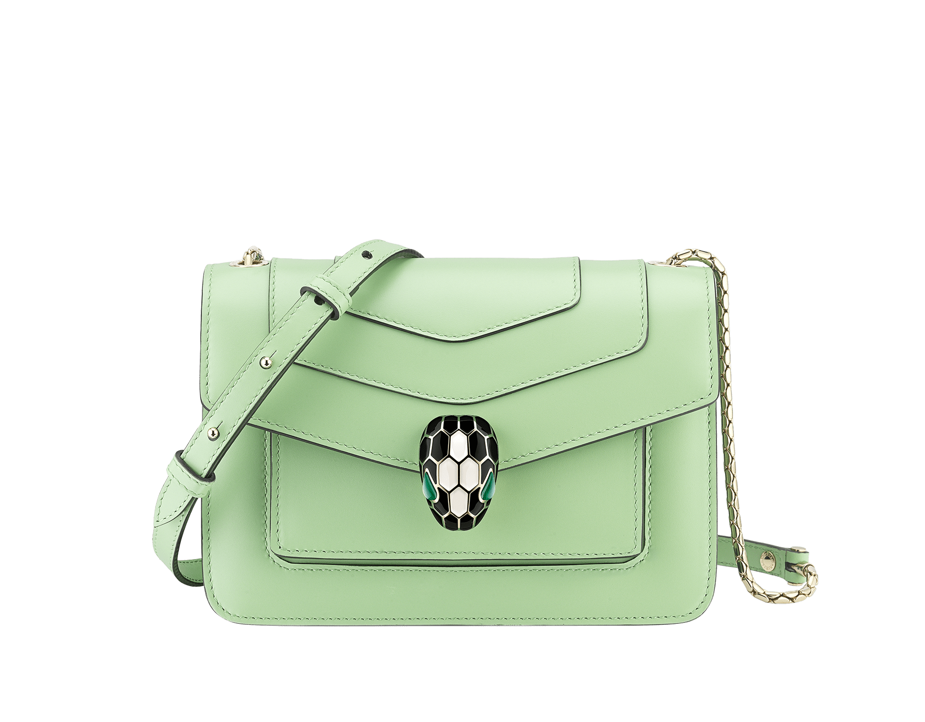 """Serpenti Forever"" crossbody bag in mint calf leather. Iconic snakehead closure in light gold plated brass enriched with black and white agate enamel and green malachite eyes. 1082-CLb image 1"