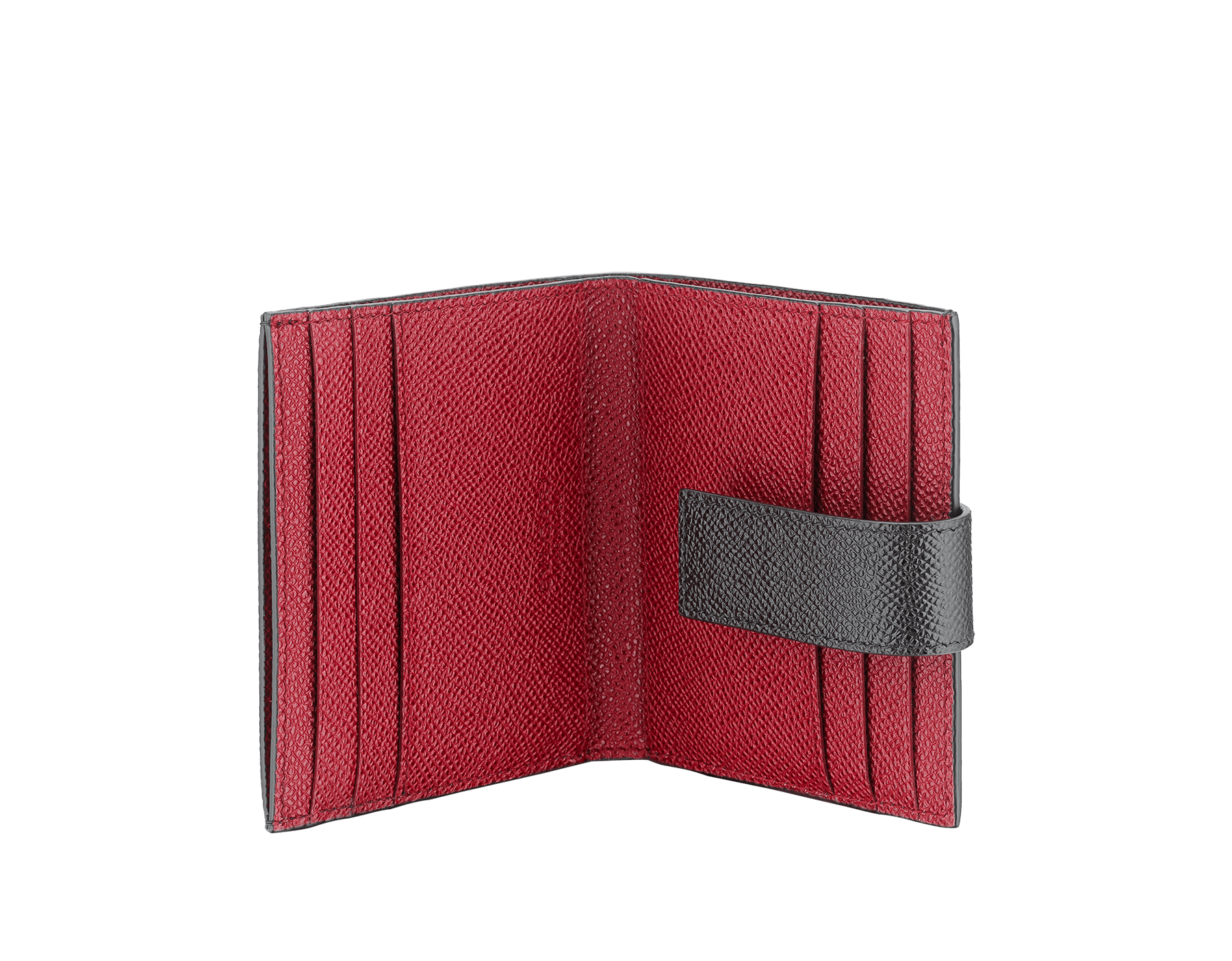 """BVLGARI BVLGARI"" card holder in black and ruby red grain calf leather. Iconic logo decoration in palladium plated brass. 290070 image 2"