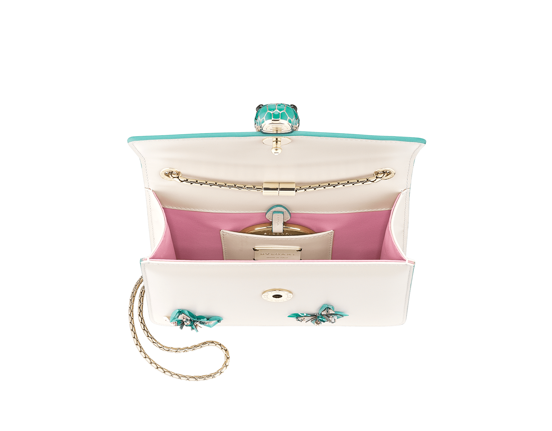 """Serpenti Forever"" crossbody bag in white agate calf leather with two arctic jade butterflies embroidered. Iconic snakehead closure in light gold plated brass enriched with arctic jade and white agate enamel and black onyx eyes. 289247 image 4"