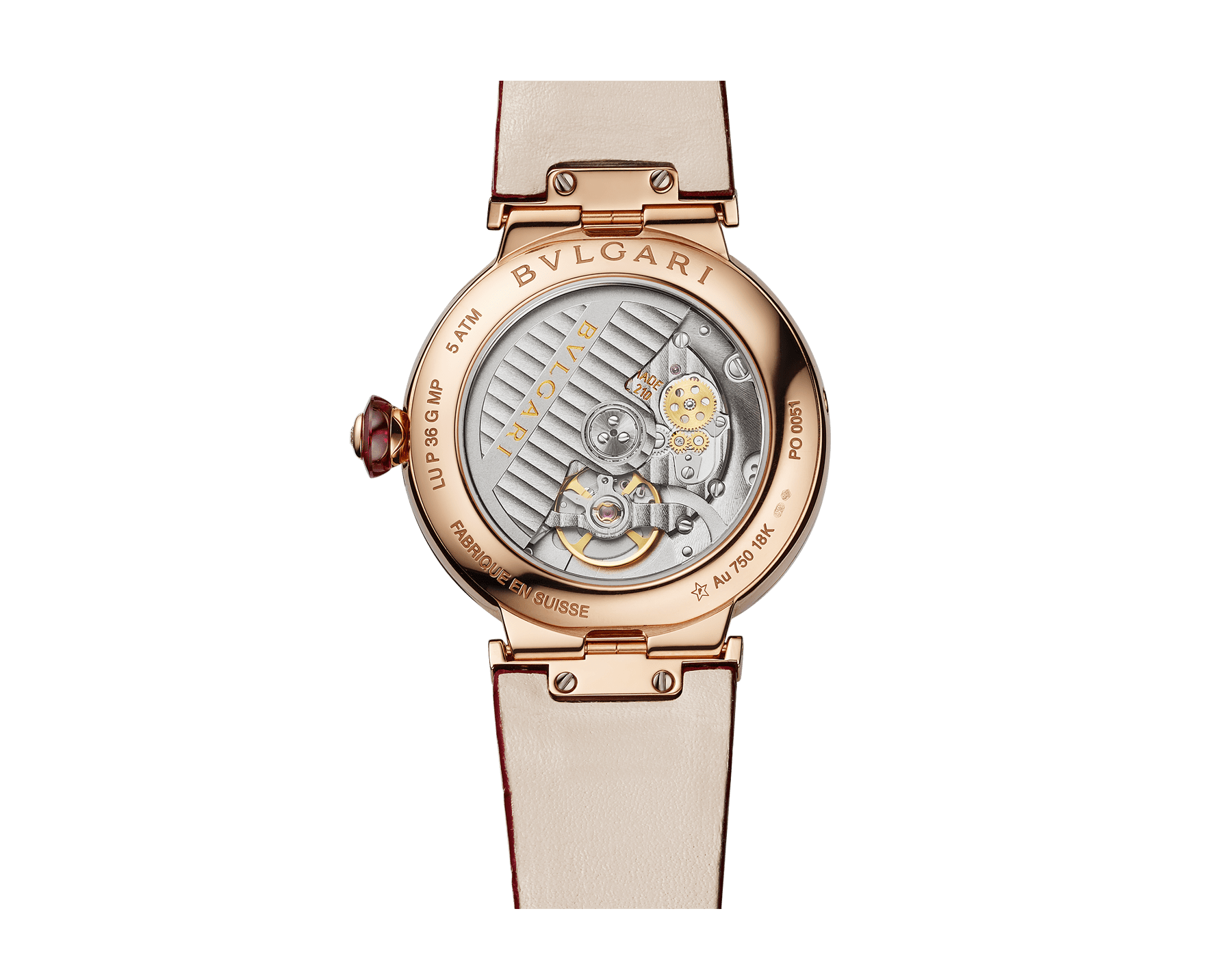 LVCEA Moon phase watch with 18 kt rose gold case set with diamonds, mother-of-pearl and heart of ruby dial, red alligator bracelet. 102686 image 4