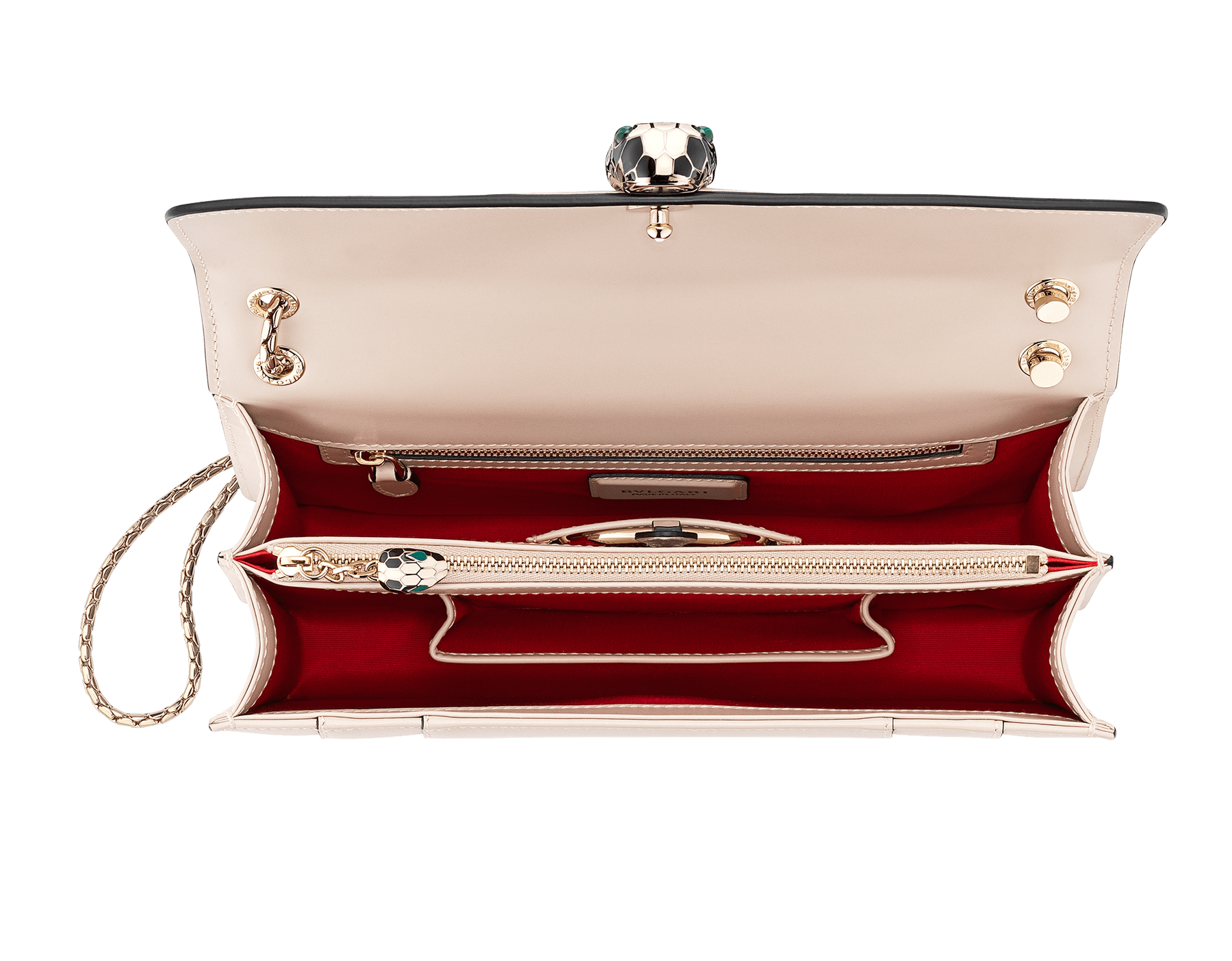 """""""Serpenti Forever """" shoulder bag in carmine jasper calf leather. Iconic snakehead closure in light gold plated brass enriched with black and white enamel and green malachite eyes 521-CLd image 4"""