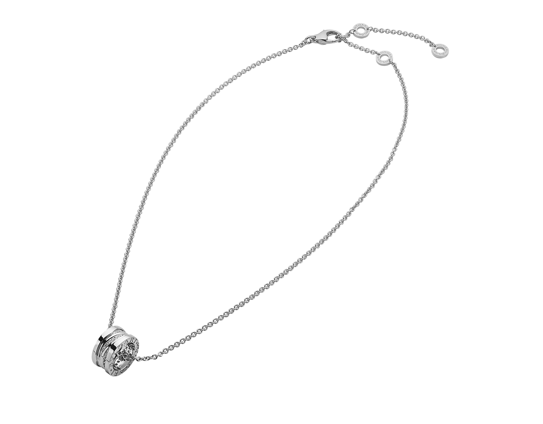B.zero1 Design Legend necklace with18 kt white gold pendant set with pavé diamonds (0.20 ct) on the spiral and 18 kt white gold chain. 355061 image 2