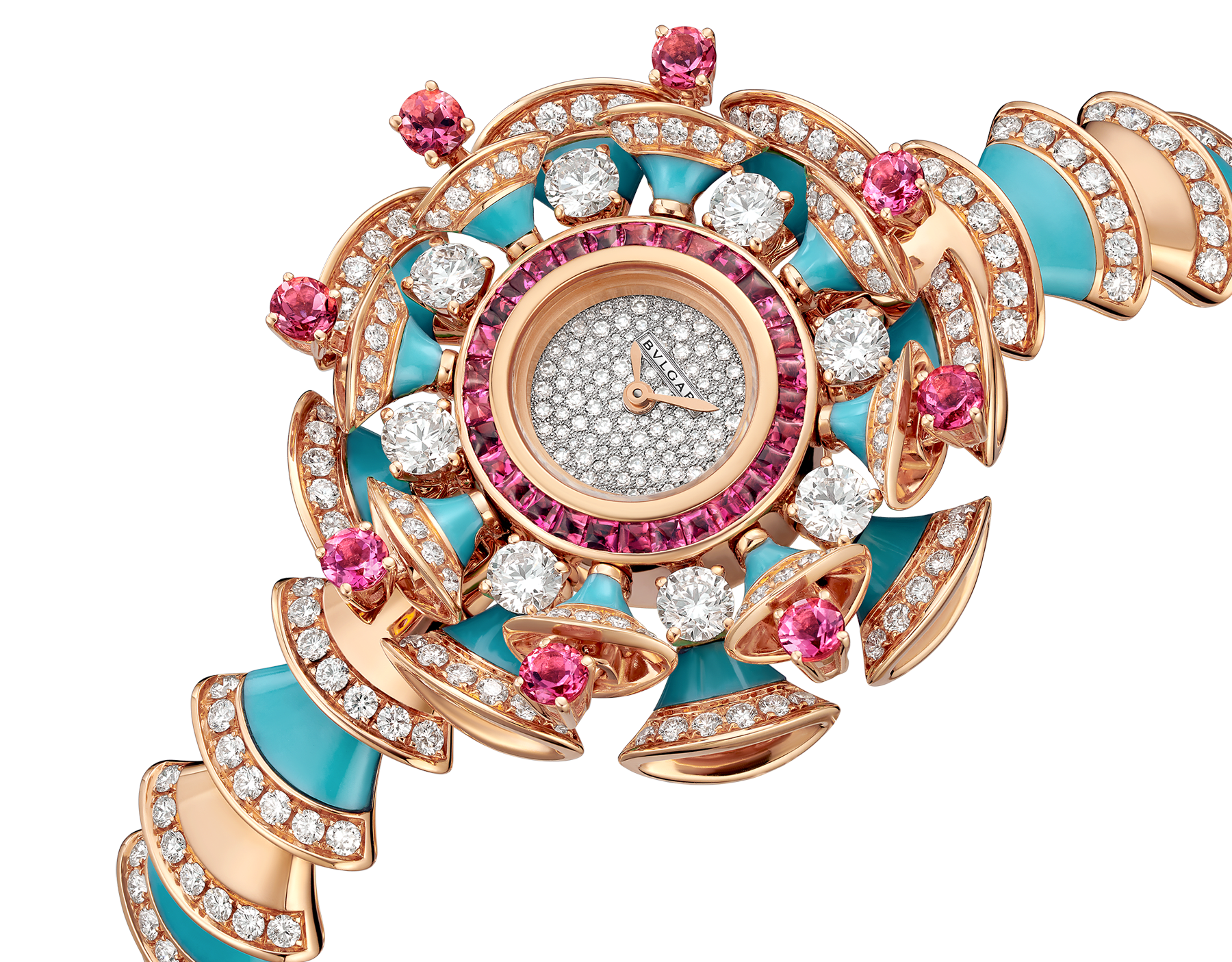 DIVAS' DREAM watch with 18 kt rose gold case set with brilliant-cut diamonds, pink tourmalines and turquoises, snow pavé dial and 18 kt rose gold bracelet set with brilliant-cut diamonds and turquoises 102079 image 2