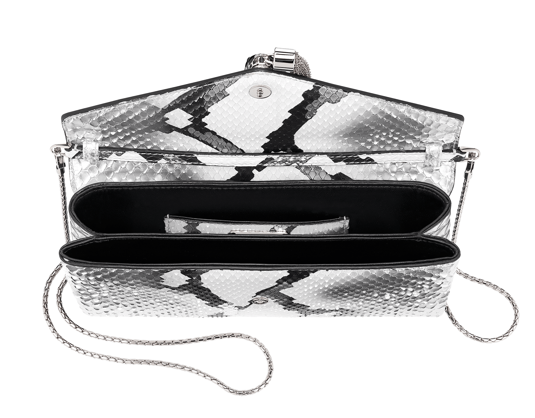 """Serpenti"" evening clutch bag in white and silver Ice Glam python skin. Iconic snake head stud closure with tassel in palladium plated brass enriched with black shiny enamel and black onyx eyes. 288976 image 4"