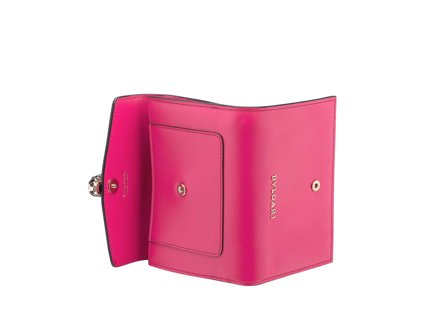 Serpenti Forever compact pochette in jazzy tourmaline and aster amethyst calf leather. Iconic snakehead stud closure in black and white enamel, with green malachite eyes. 287142 image 3