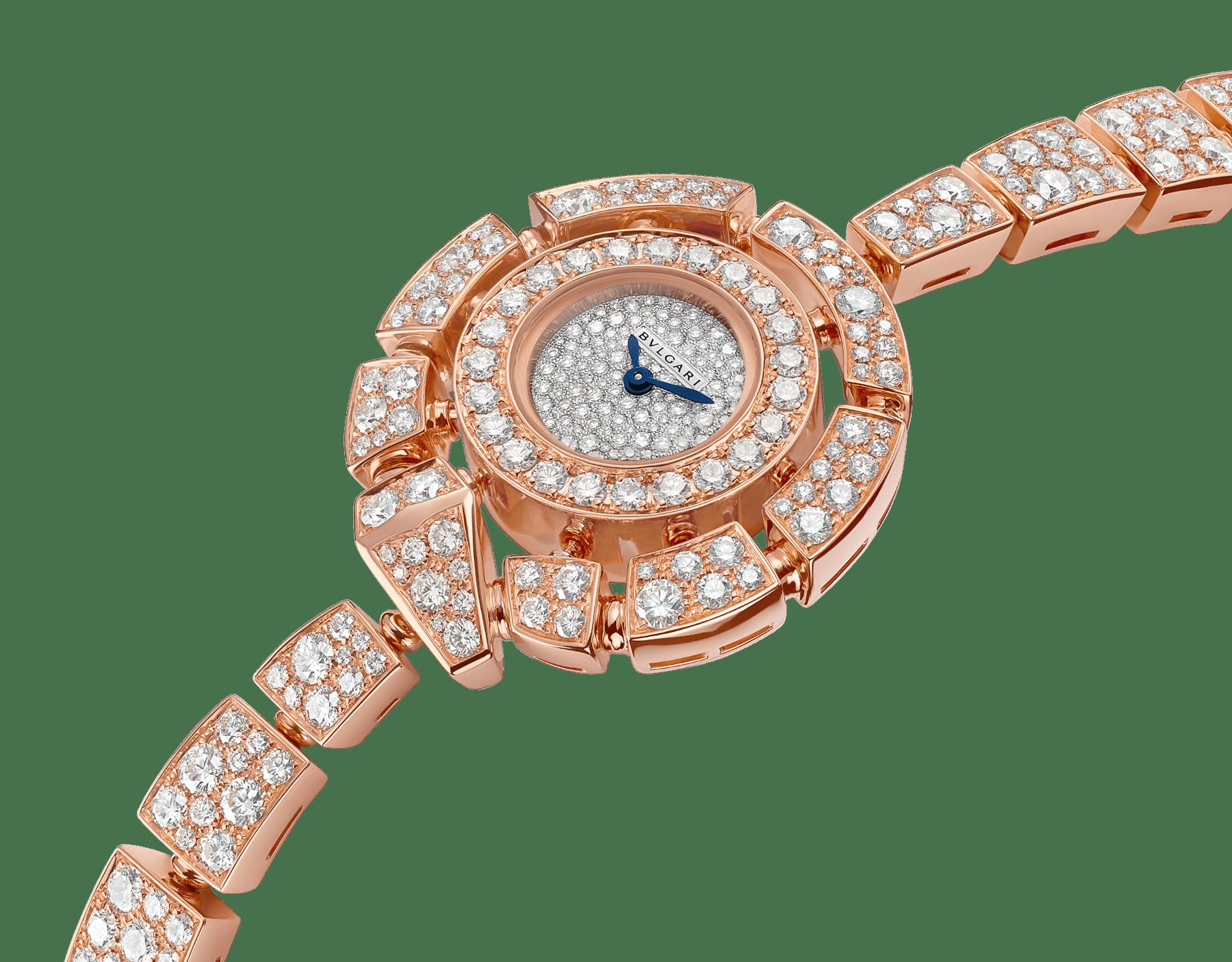 Montre Serpenti Incantati avec boîtier et bracelet en or rose 18K sertis de diamants taille brillant, cadran pavé diamants en serti «neige». 102673 image 2