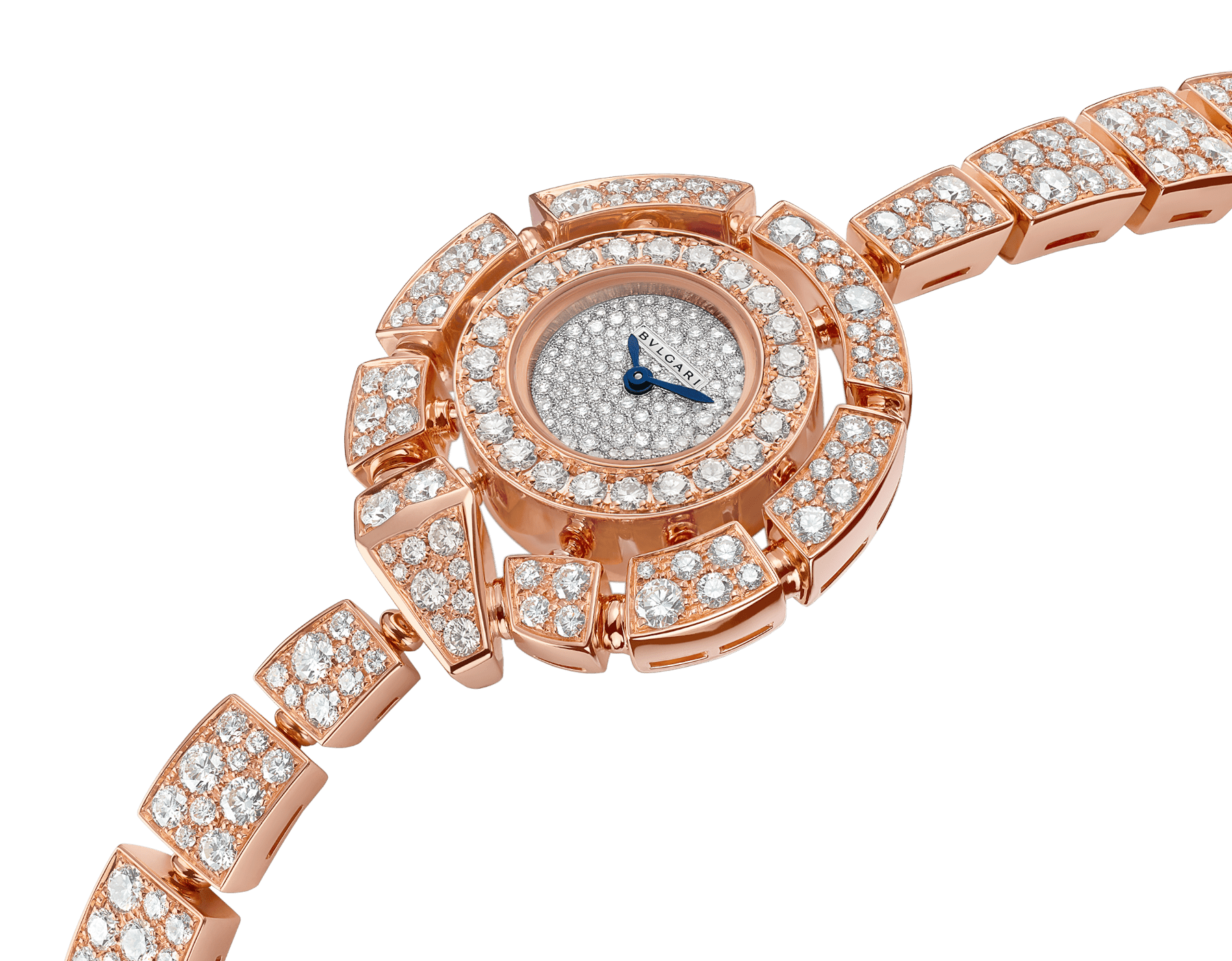 Serpenti Incantati 腕錶,18K 玫瑰金錶殼和錶帶鑲飾明亮型切割鑽石,雪花式密鑲鑽石錶盤。 102673 image 2