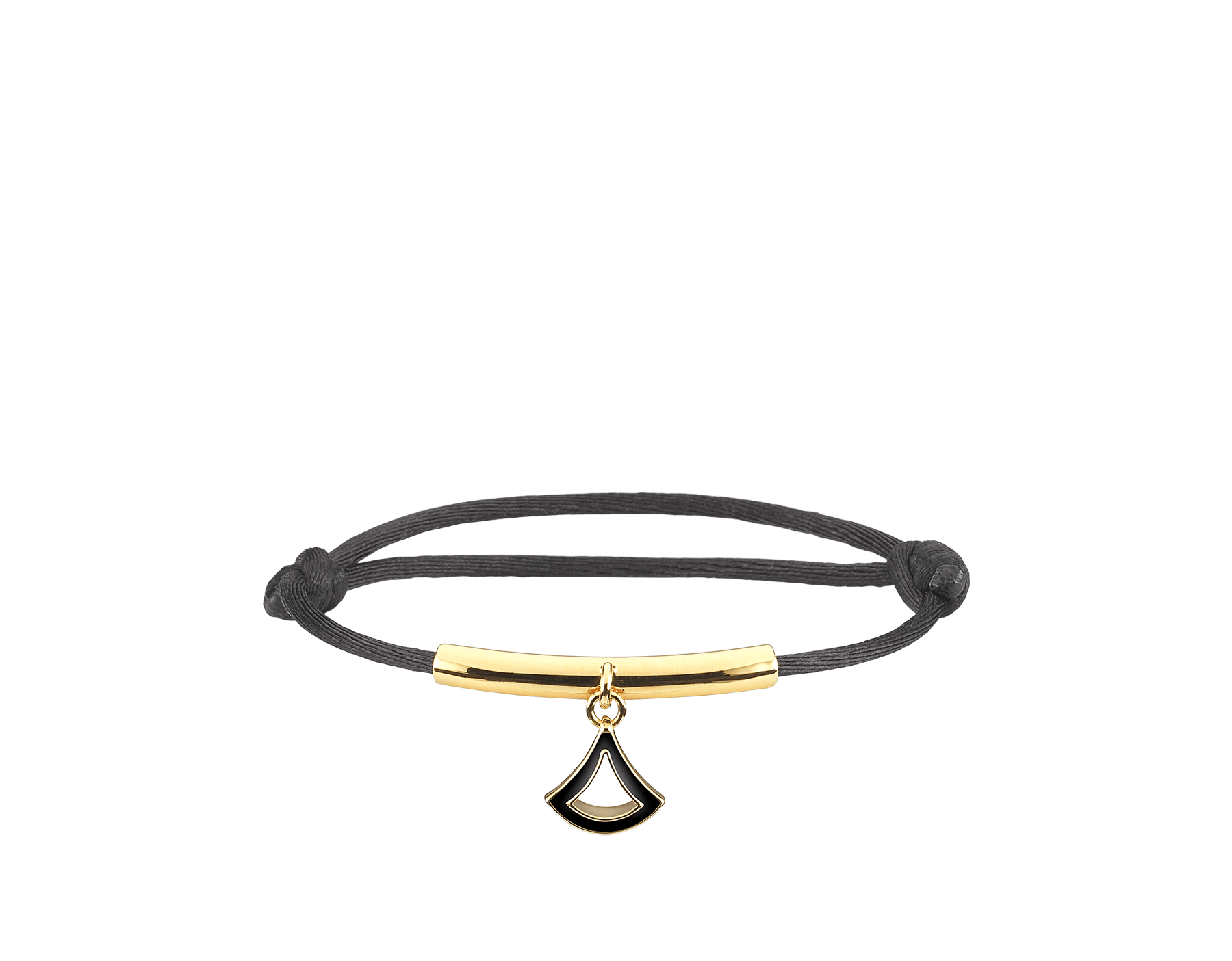 """""""Diva's Dream"""" bracelet in emerald green fabric with a light gold-plated brass plate. Distinctive Diva charm in light gold-plated brass enamelled in emerald green. DIVAMINISTRING image 1"""