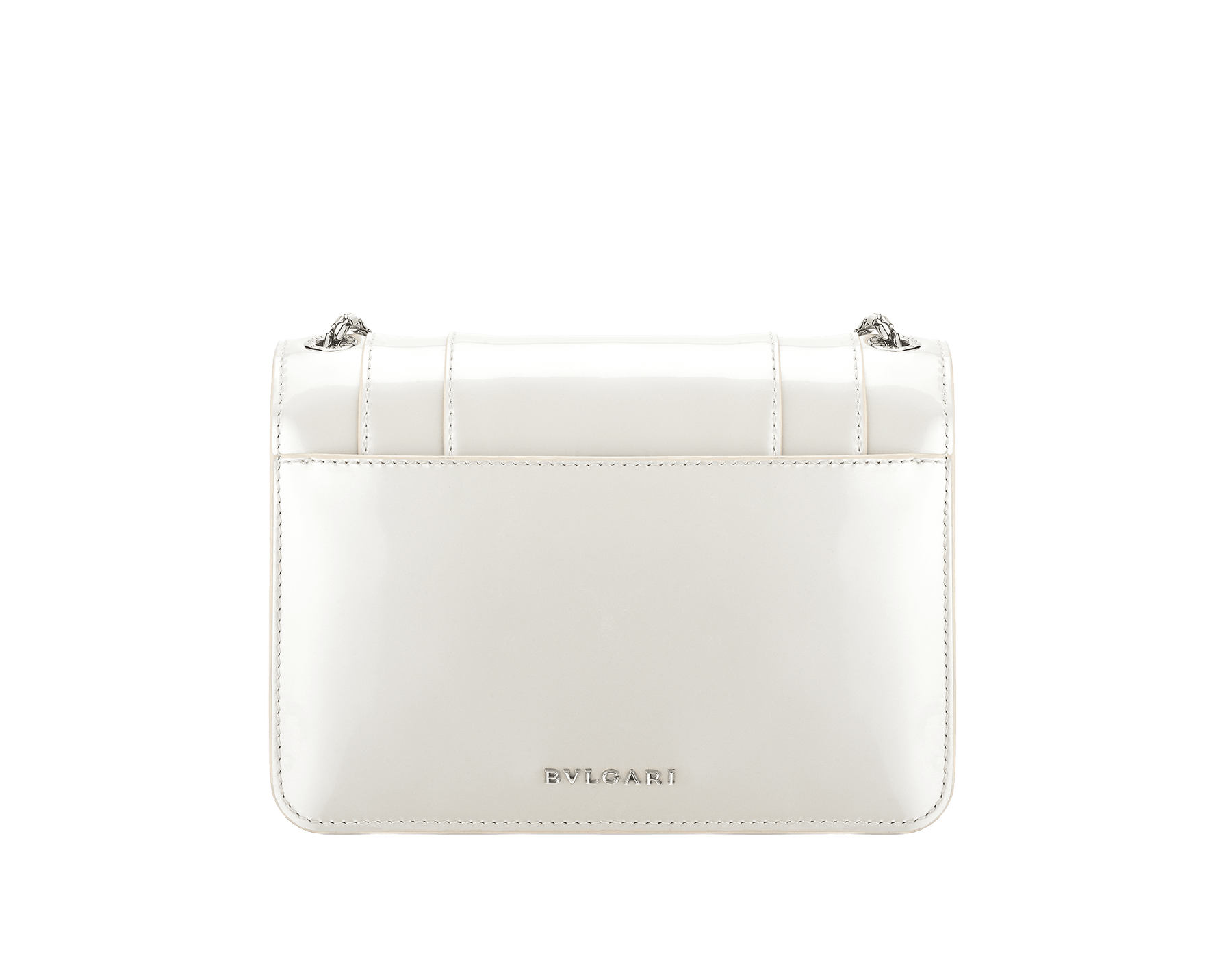 """Serpenti Forever"" crossbody bag in white agate calf leather with a varnished and pearled effect. Iconic snakehead closure in light gold plated brass enriched with black and pearled white agate enamel and black onyx eyes. 1082-VCL image 3"