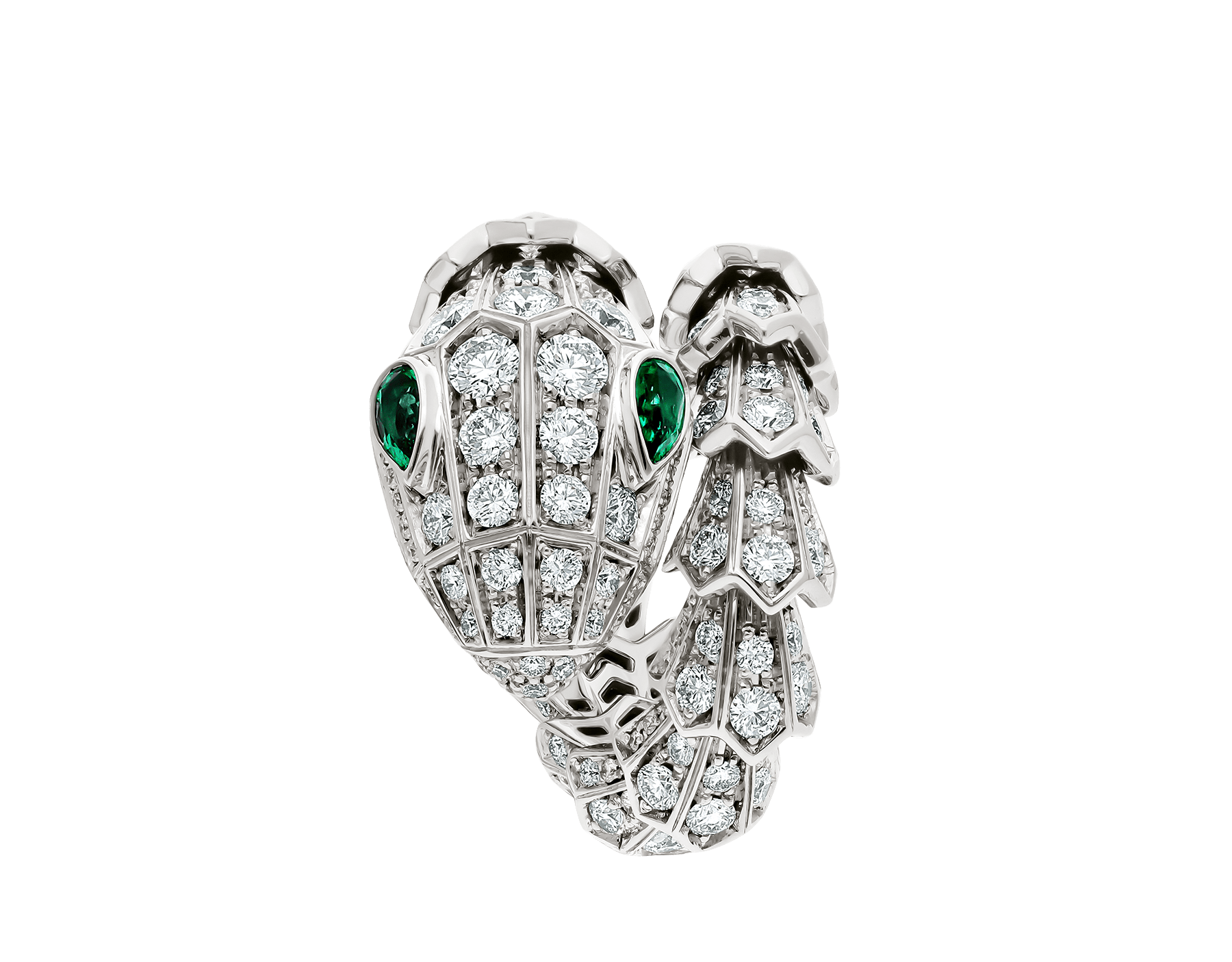 Serpenti 18 kt white gold ring set with pavé diamonds and two emerald eyes. AN858323 image 2