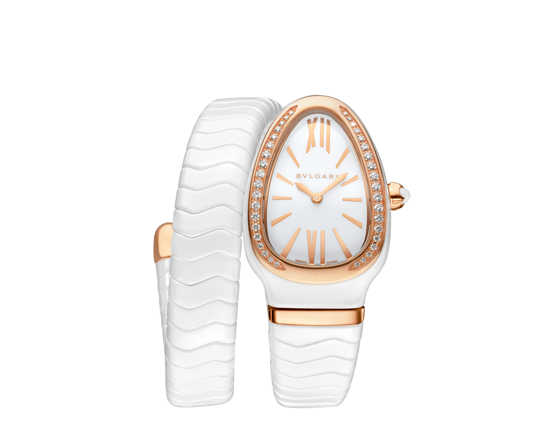 Serpenti Spiga single spiral watch with white ceramic case, 18 kt rose gold bezel set with brilliant cut diamonds, white lacquered dial, white ceramic bracelet with 18 kt rose gold elements. 102613 image 1