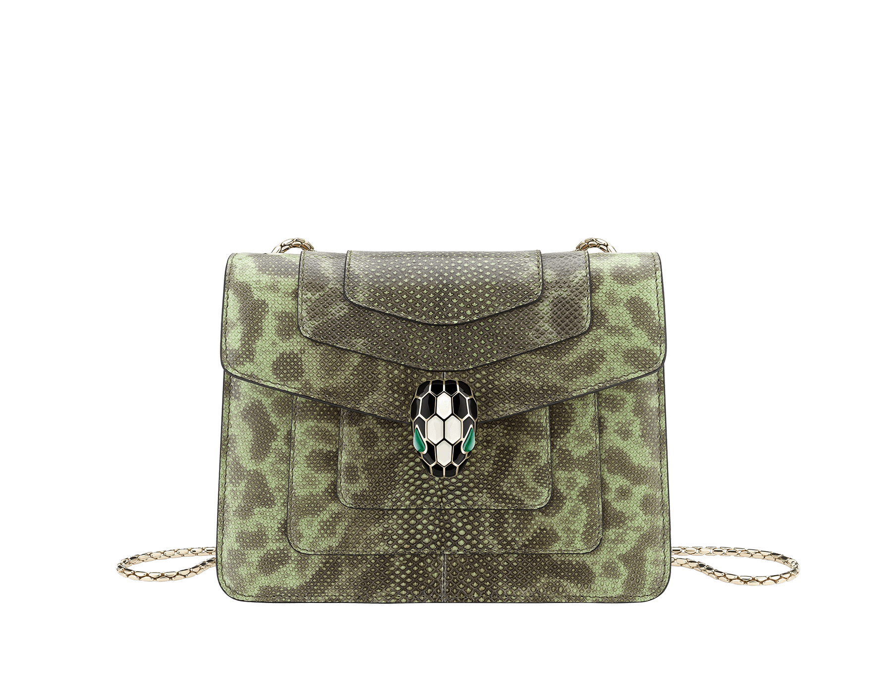 """Serpenti Forever"" crossbody bag in mint shiny karung skin. Iconic snakehead closure in light gold plated brass enriched with black and white enamel, and green malachite eyes. 422-SK image 1"