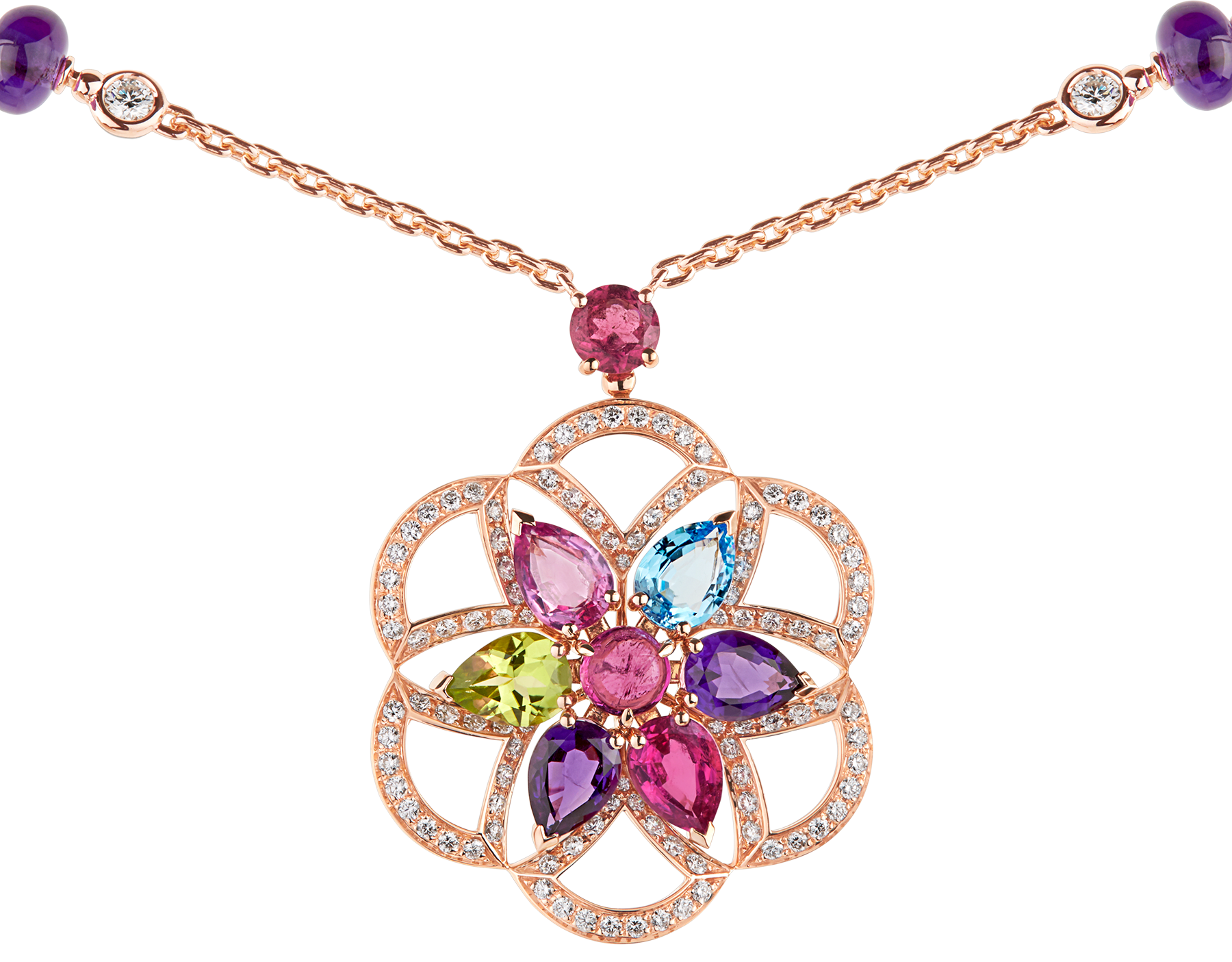 Collier DIVAS' DREAM en or rose 18 K serti de pierres de couleur et pavé diamants 355617 image 3