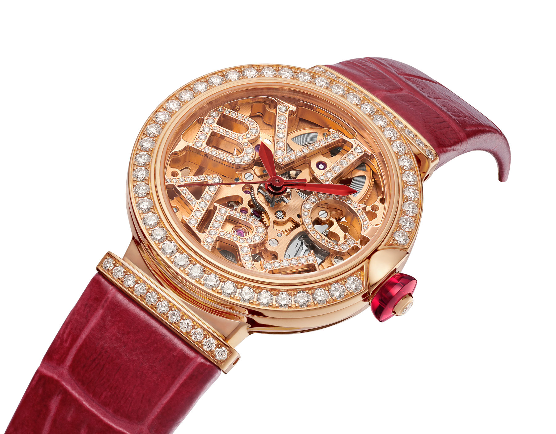 LVCEA Skeleton watch with mechanical manufacture movement, automatic winding, 18 kt rose gold case set with diamonds, openwork BVLGARI logo dial set with diamonds and red alligator bracelet 102833 image 2