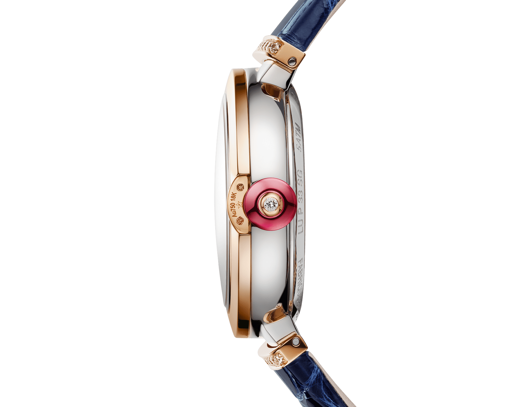 LVCEA Skeleton watch with mechanical manufacture movement, automatic winding and skeleton execution, stainless steel and 18 kt rose gold case, 18 kt rose gold openwork BVLGARI logo dial set with brilliant-cut diamonds and blue alligator bracelet with 18 kt rose gold links set with diamonds 103502 image 3