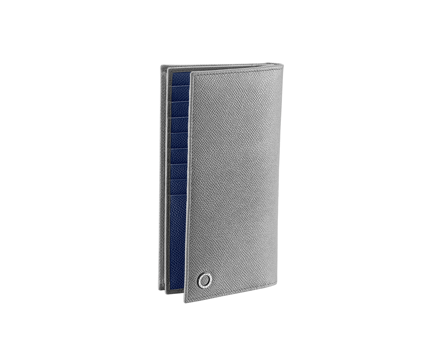 """""""BVLGARI BVLGARI"""" large wallet in Pluto Stone gray and Denim Sapphire blue grained calf leather. Iconic logo-bearing embellishment in palladium-plated brass. BBM-WLT-Y-ZP-16C-gcl image 1"""