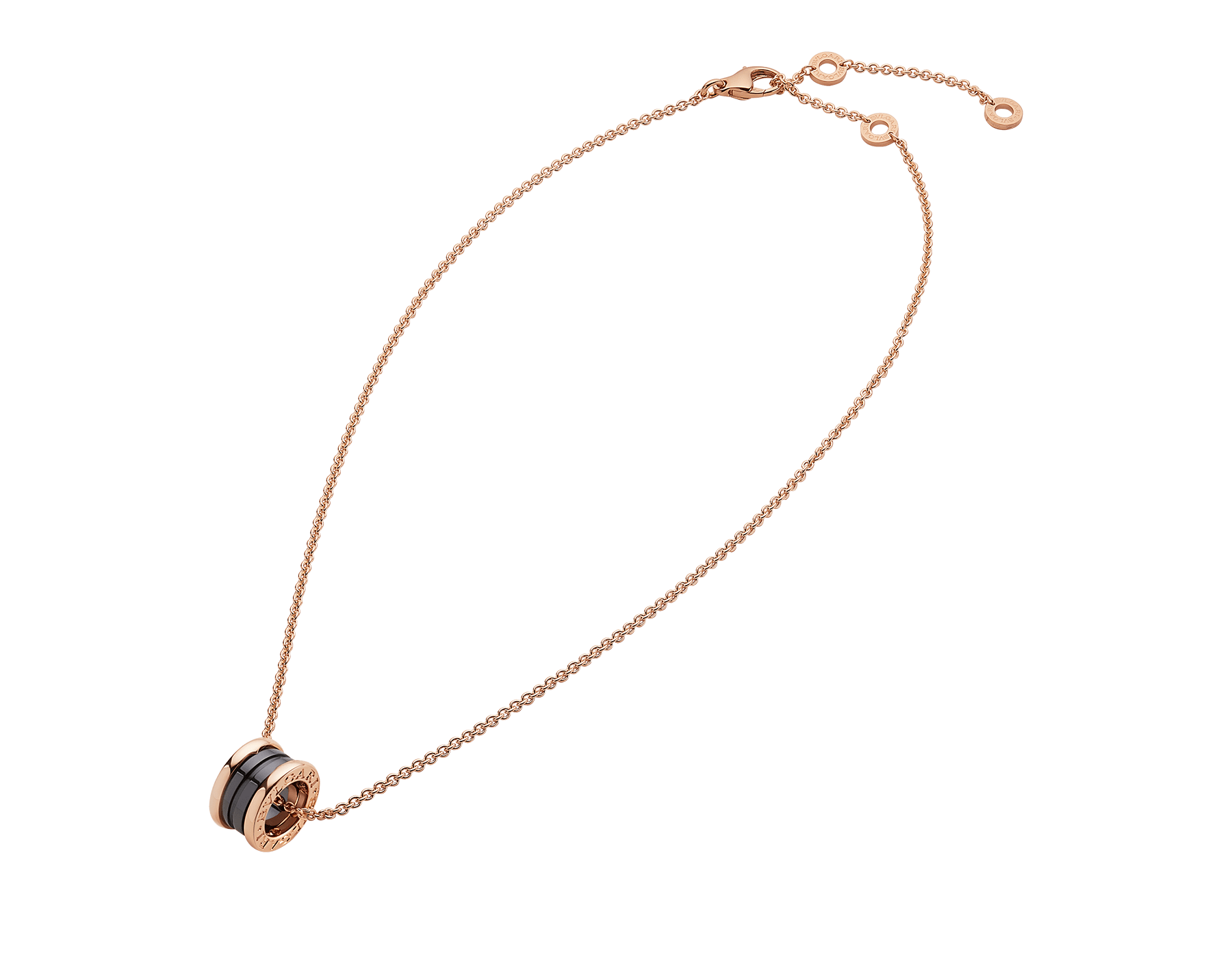B.zero1 necklace with 18 kt rose gold chain and with 18 kt rose gold and black ceramic pendant. 346083 image 2