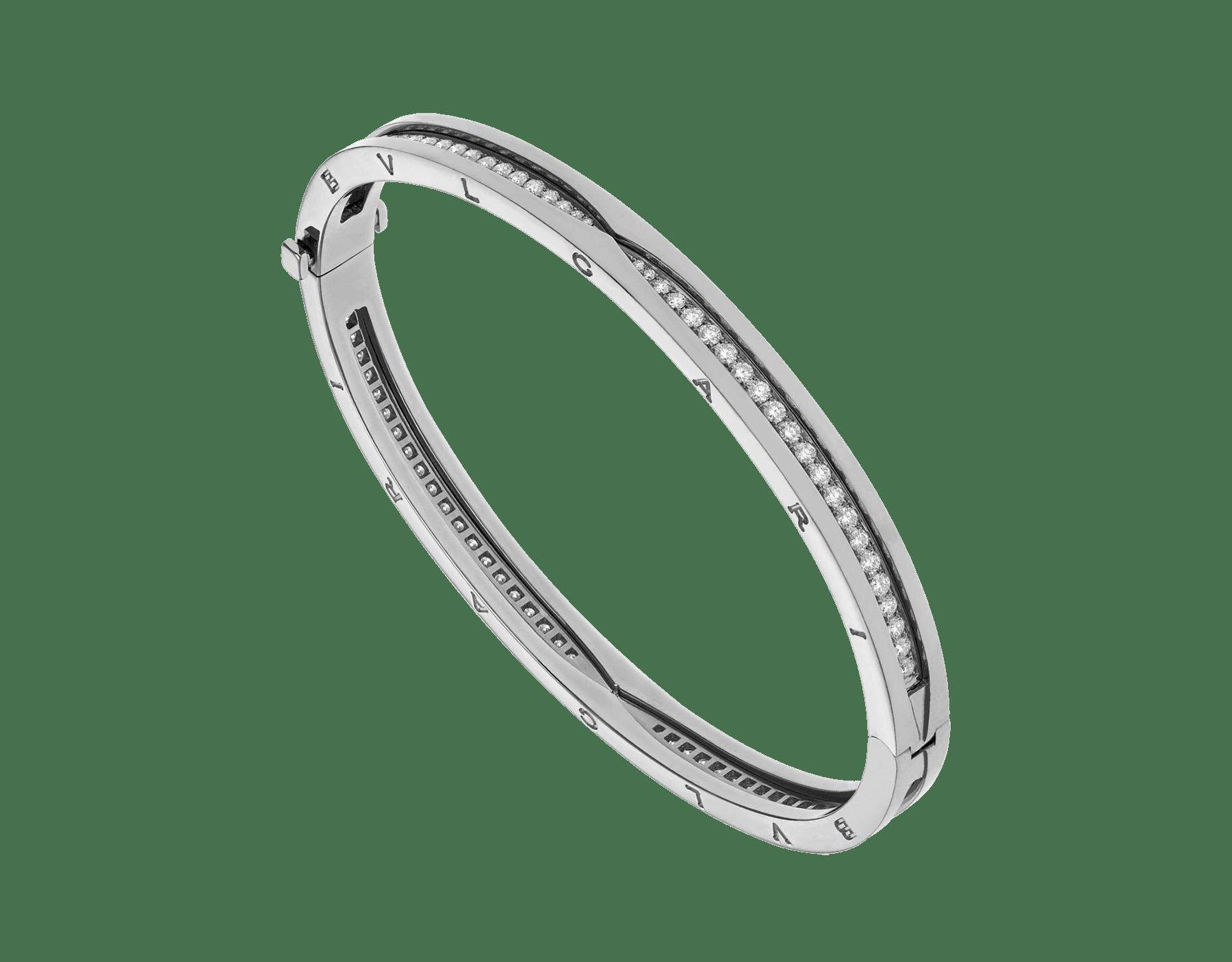 B.zero1 18 kt white gold bracelet set with pavé diamonds on the spiral BR859000 image 1