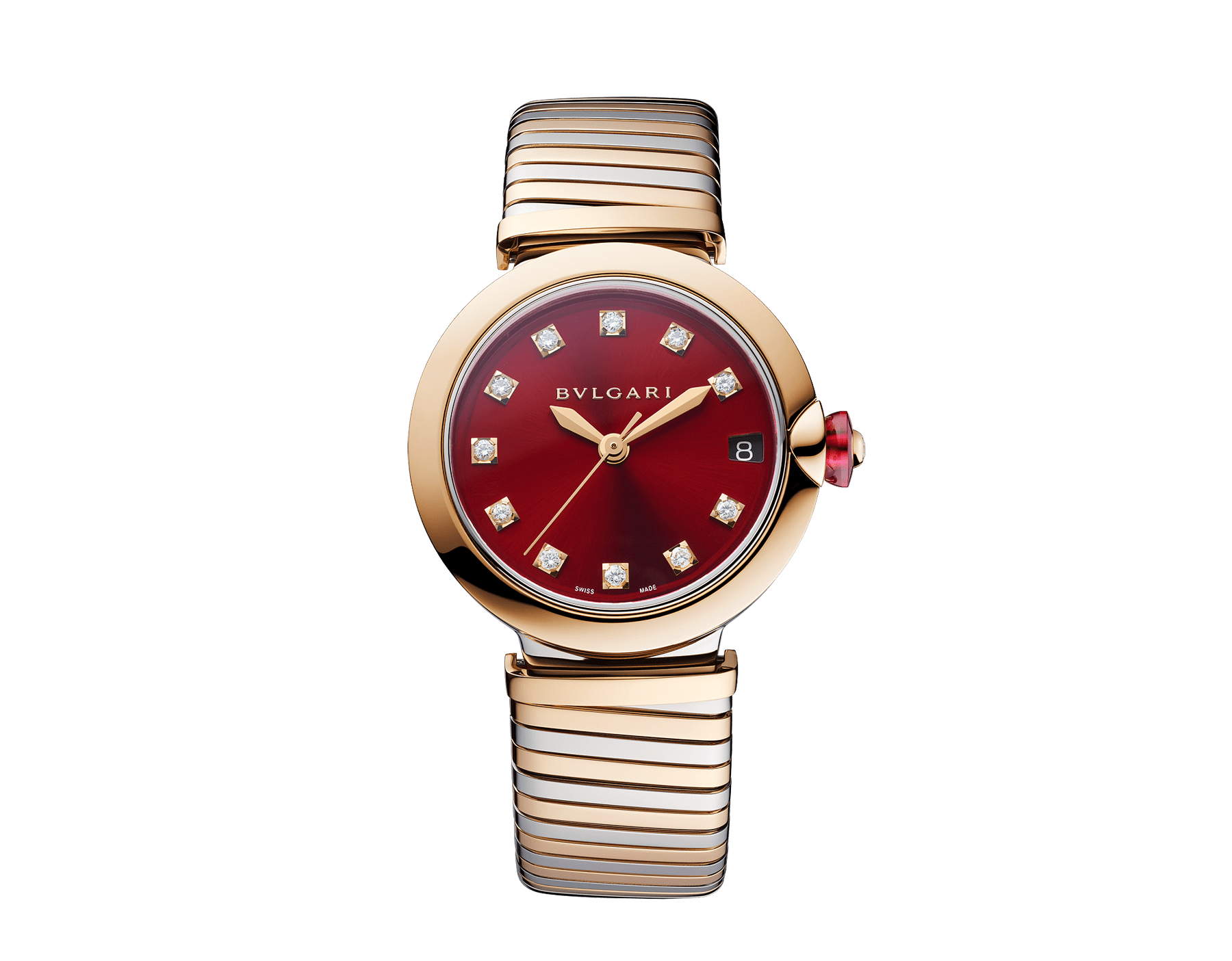LVCEA watch with stainless steel case, 18 kt rose gold bezel, red lacquered dial, diamond indexes and tubogas bracelet in 18 kt rose gold and stainless steel 103123 image 1