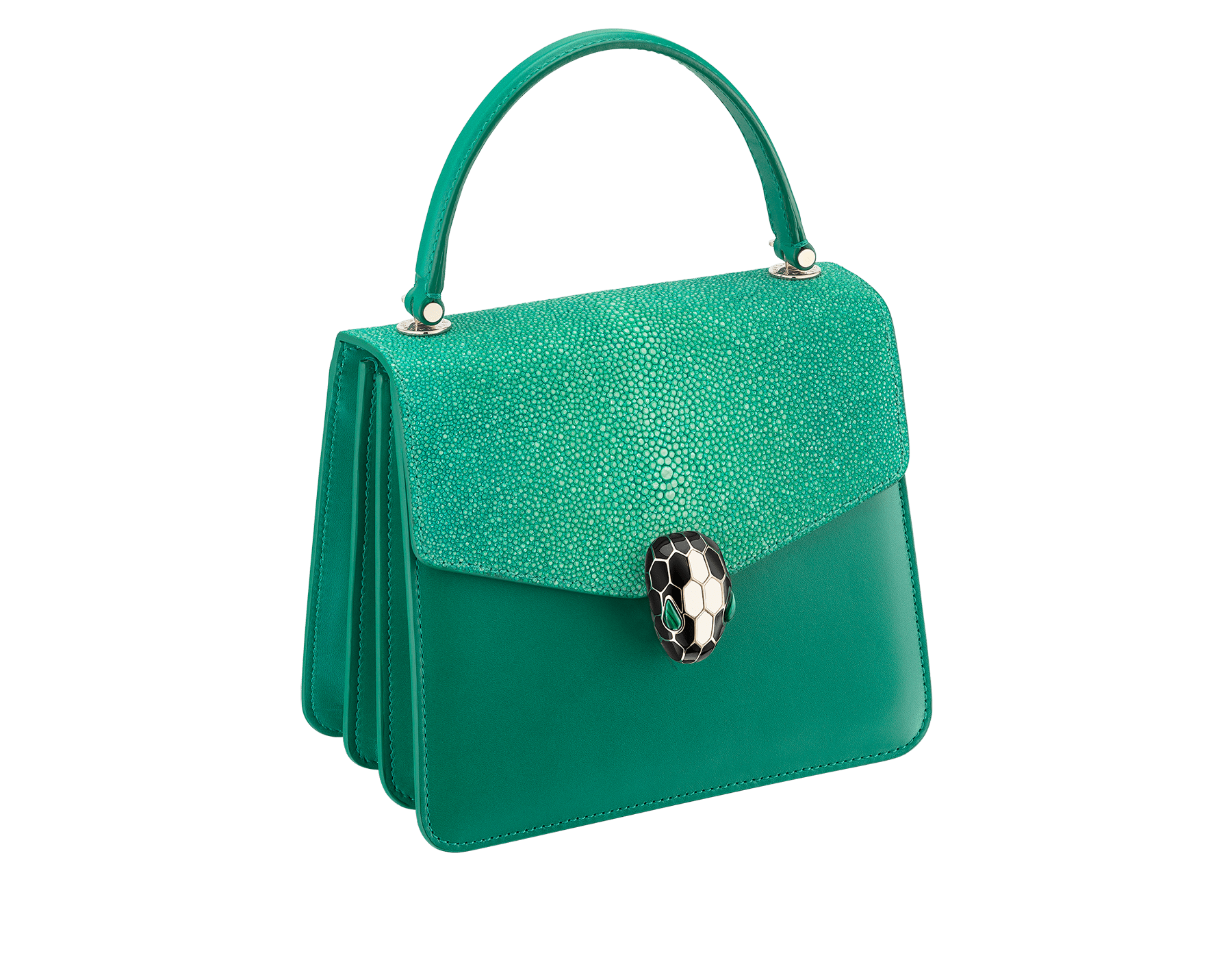 Serpenti Forever crossbody bag in sea star coral galuchat skin and smooth calf leather. Snakehead closure in light gold plated brass decorated with black and white enamel, and green malachite eyes. 752-Ga image 2