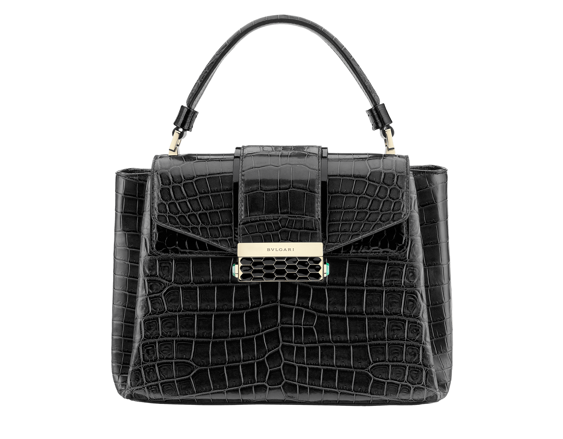 Top handle bag Serpenti Viper in black shiny crocodile skin. Brass light gold plated hardware and snap closure in black shiny enamel with iconic Scaglie design. 283548 image 1