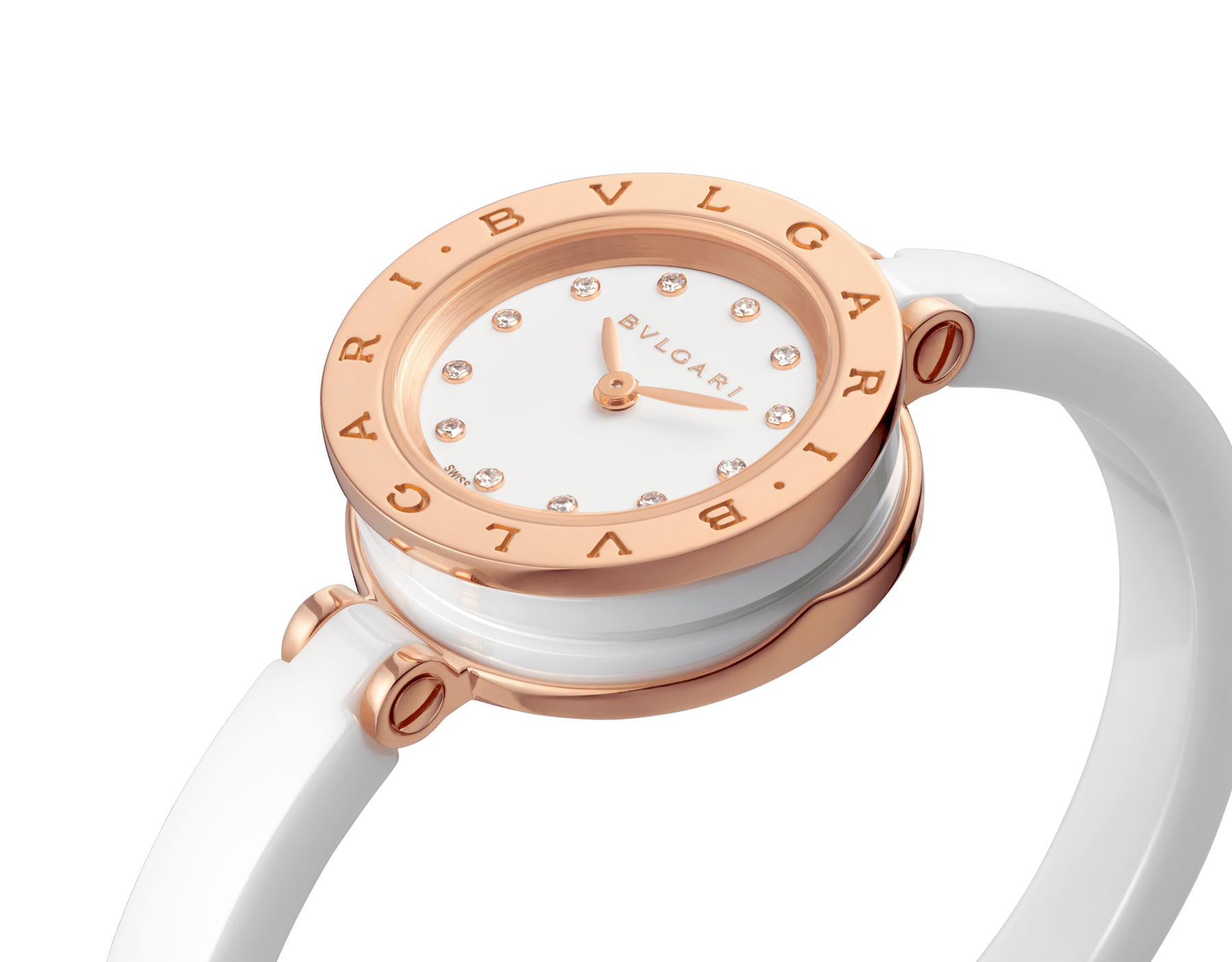 B.zero1 watch with 18 kt rose gold and white ceramic case, white lacquered dial set diamond indexes, white ceramic bangle and 18 kt rose gold clasp. B01watch-white-white-dial3 image 2