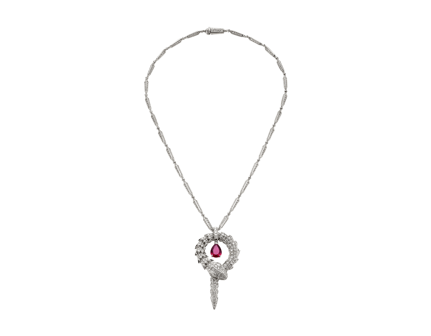 Serpenti small pendant in 18 kt white gold with rubellite (1.90 ct) and pavé diamonds (7.13 ct) 354086 image 1