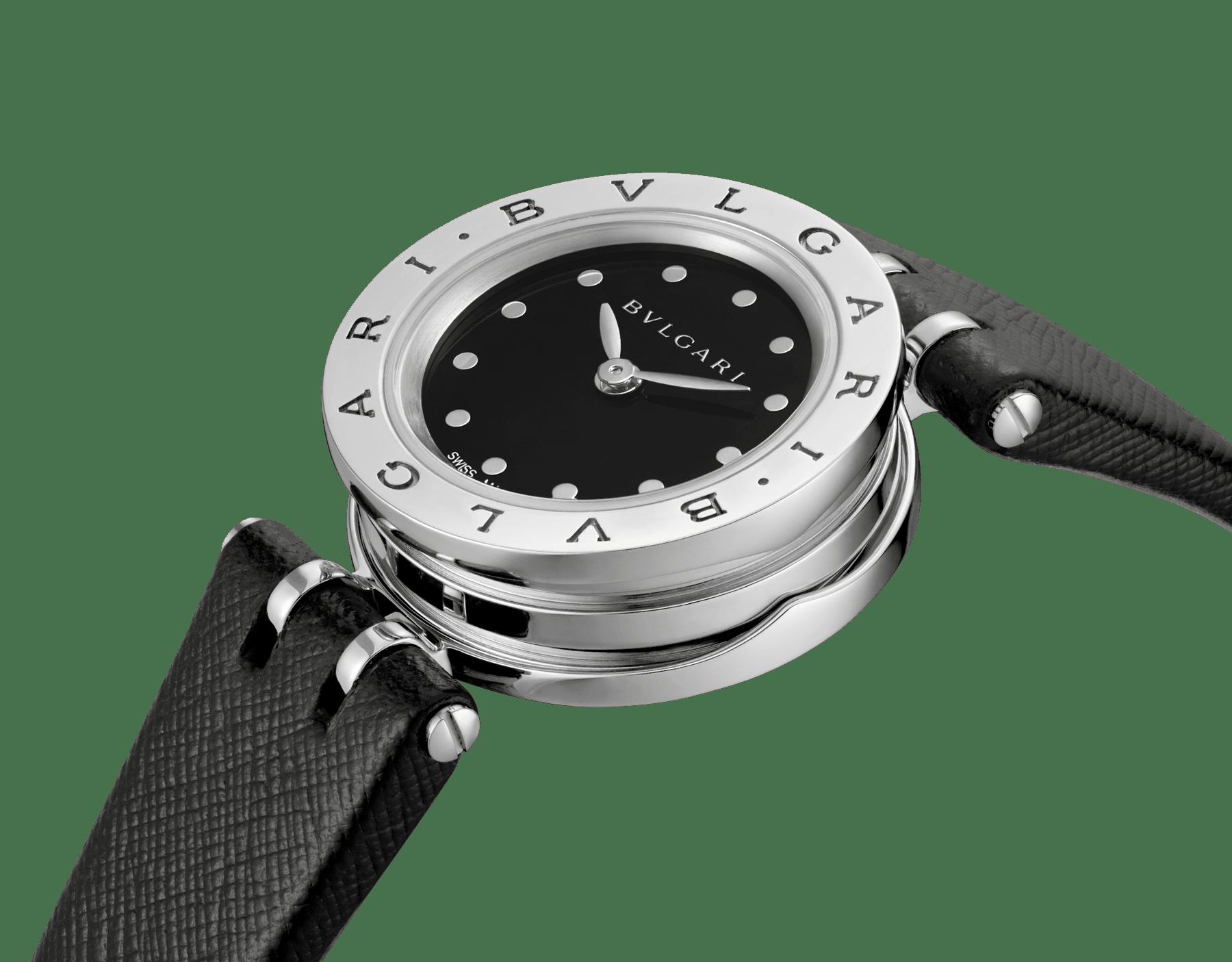 Orologio B.zero1 con cassa in acciaio inossidabile, spirale in ceramica nera quadrante laccato nero e cinturino in pelle nera. 102179 image 2