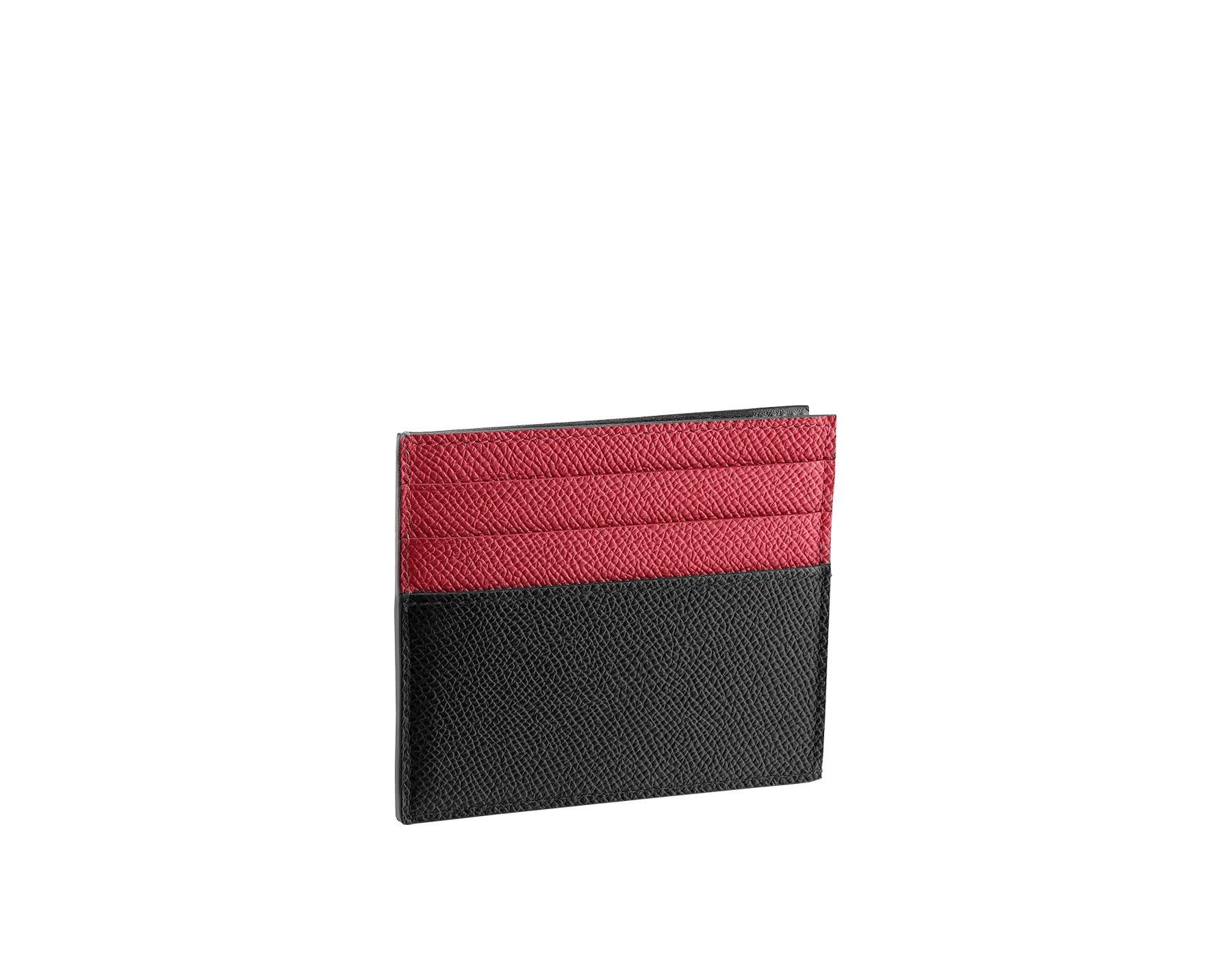 BVLGARI BVLGARI open credit card holder in black and ruby dahlia grain calf leather and black nappa lining. Iconic logo décor in palladium plated brass. 288309 image 2