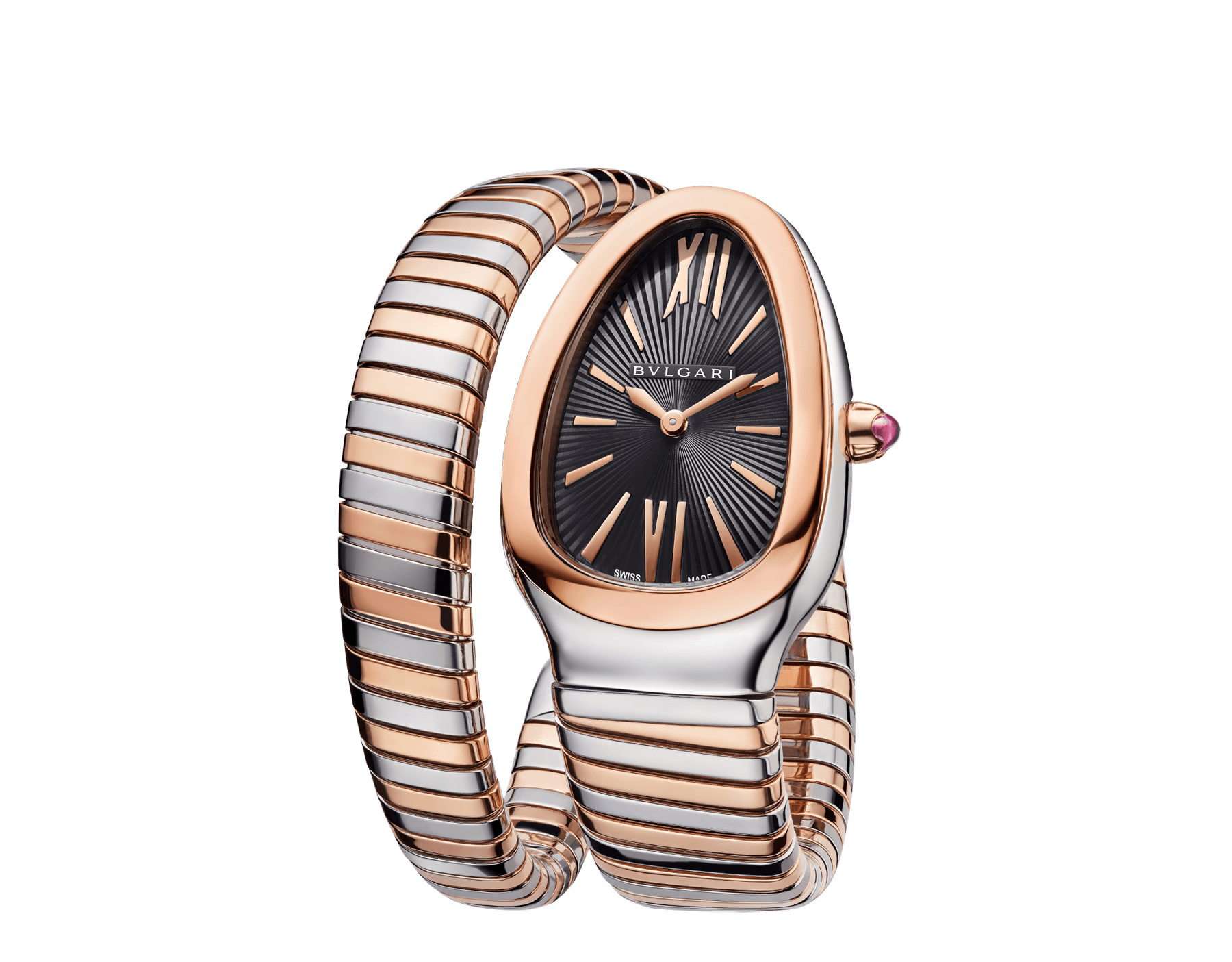 Serpenti Tubogas single spiral watch in 18 kt rose gold and stainless steel case and bracelet, with black opaline dial. 102123 image 2