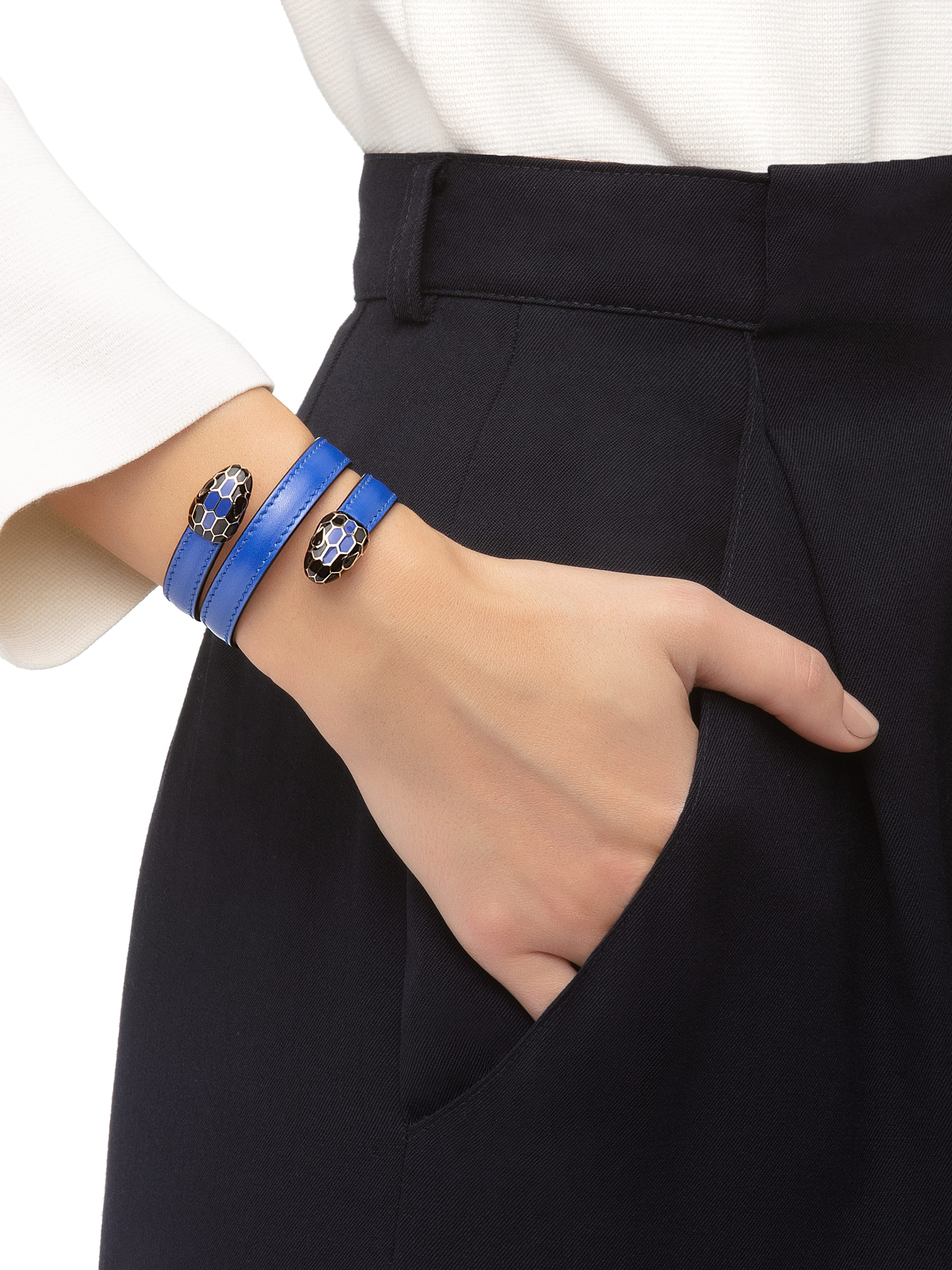 Serpenti Forever multi-coiled rigid Cleopatra bracelet in cobalt tourmaline calf leather, with brass light gold plated hardware. Iconic double snakehead décor in black and cobalt tourmaline enamel, with black enamel eyes Cleopatra-CL-CT image 2