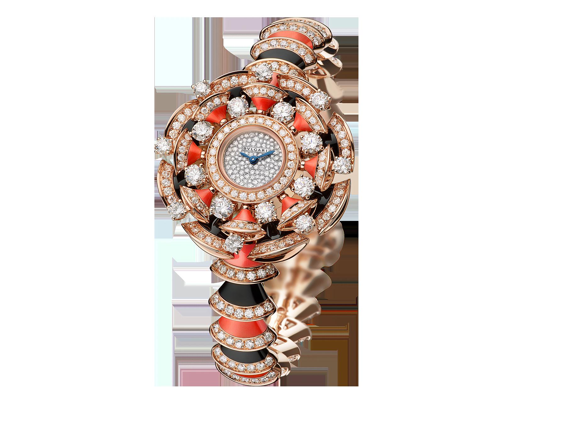 Reloj DIVAS' DREAM con caja y brazalete en oro rosa de 18 qt, ambos con diamantes talla brillante, ónix y elementos de coral rojo engastados y esfera con pavé efecto nieve. 102422 image 1