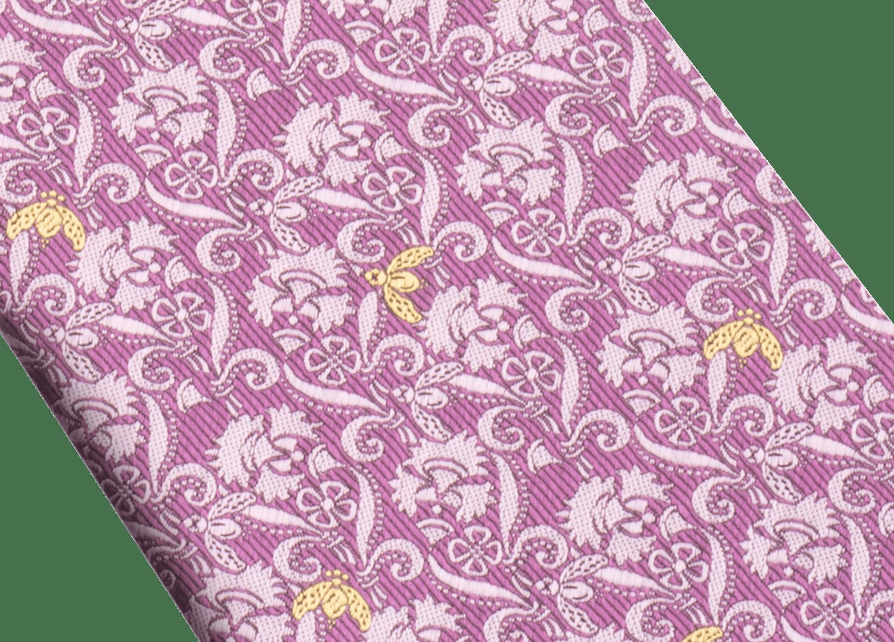 Cravate sept plis Bee Lux mauve en jacquard de soie fine. 244079 image 2